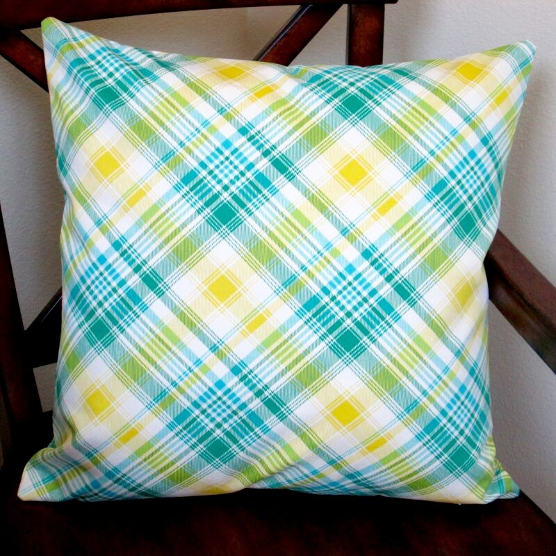 Notting Hill Plaid Tartan Indoor Cotton Throw Pillow Color: Aquamarine