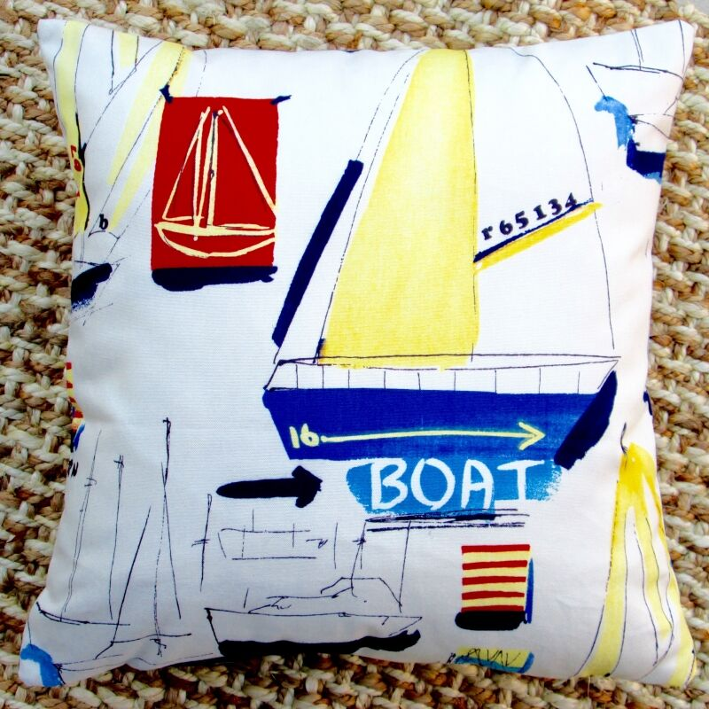 Sail Boat Beach Nautical Marine Coastal Cotton Throw Pillow