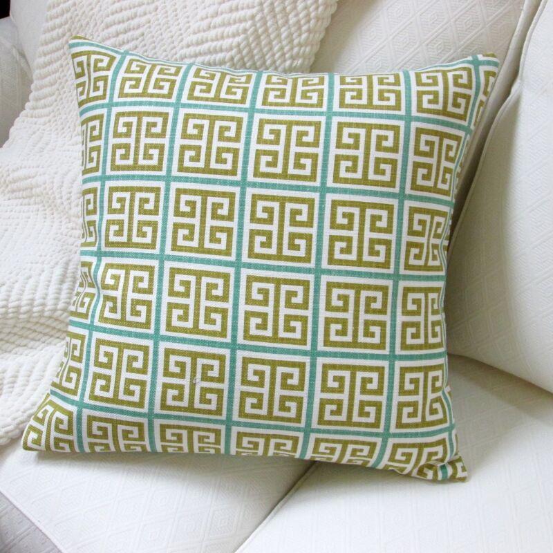 Greek Key Geometric Cotton Throw Pillow Color: Green/Blue