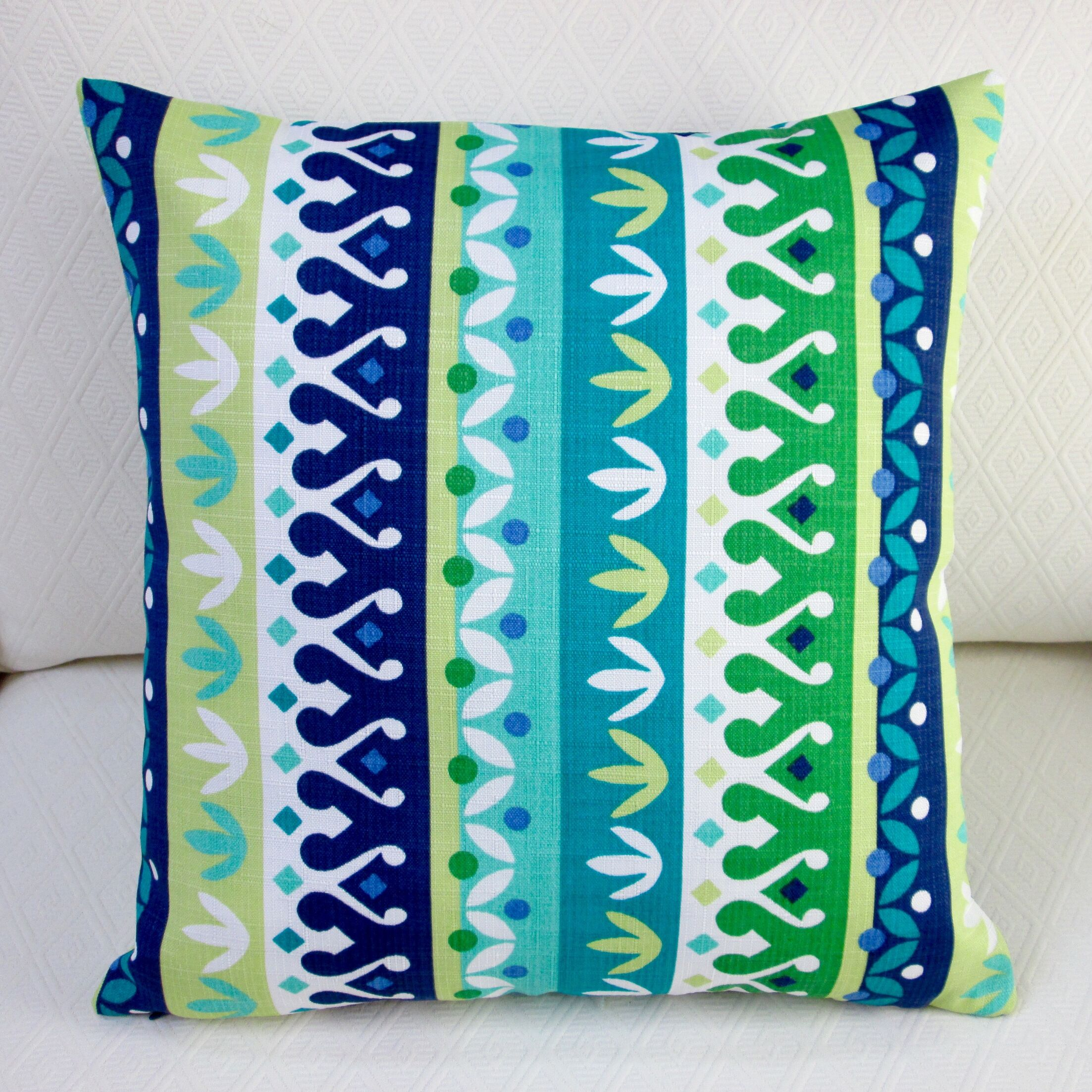 Cotrell Stripe Geometric Modern Indoor/Outdoor Throw Pillow Color: Lagoon