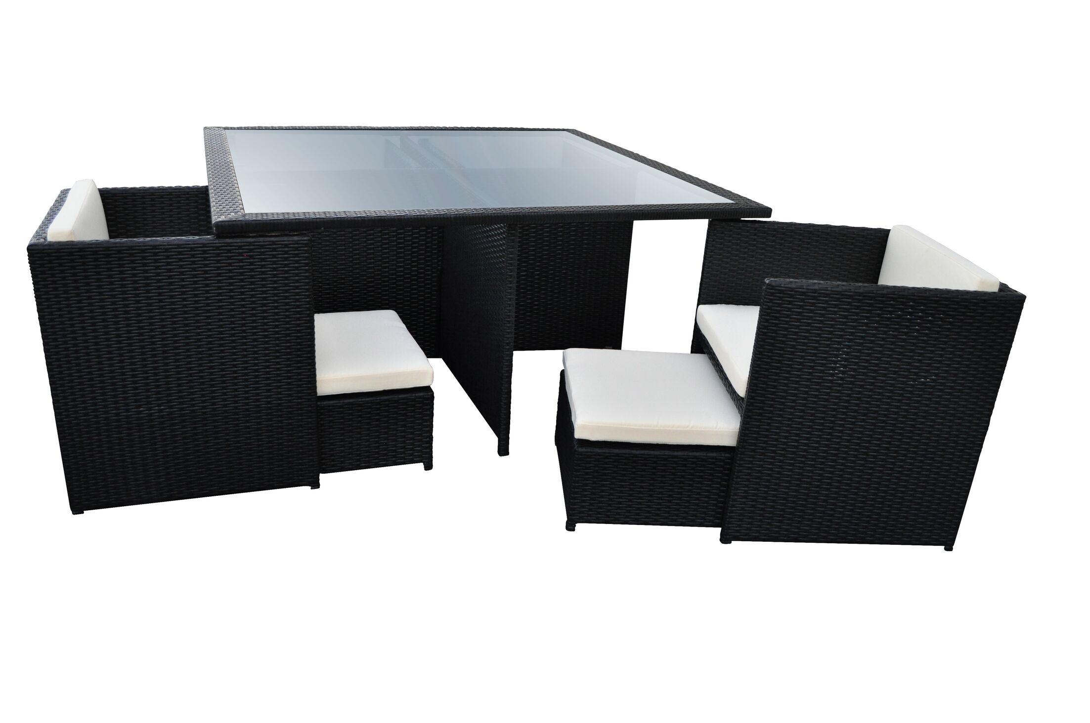 Stella 9 Piece Dining Set with Cushions Finish: Black, Cushion Color: Cream