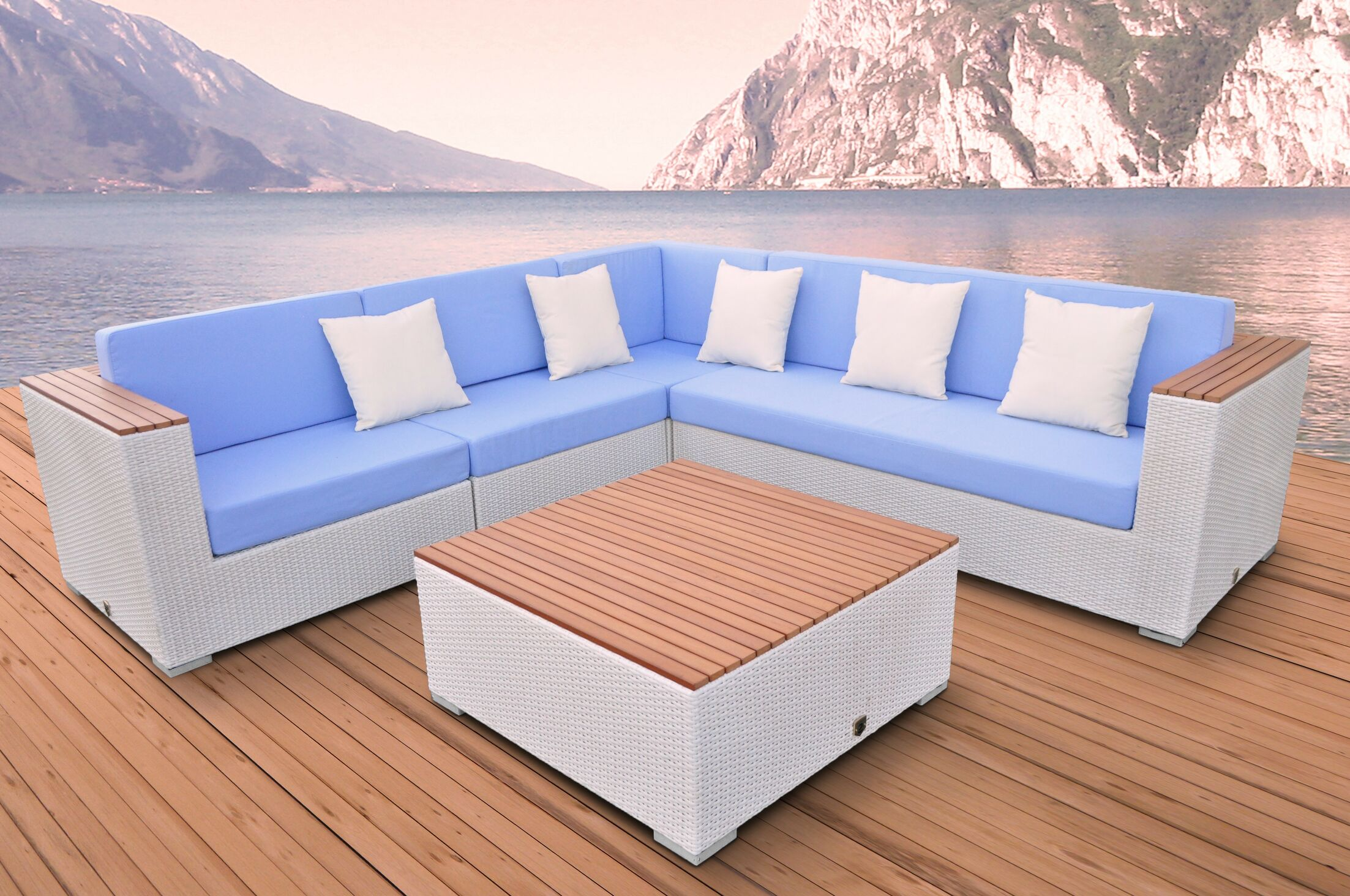 Majestic 5 Piece Rattan Sectional Set with Cushions Fabric: Light Blue