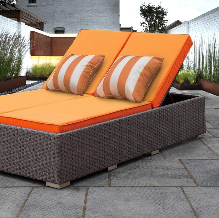 Lulsgate Double Chaise Lounge with Cushion Fabric: Orange