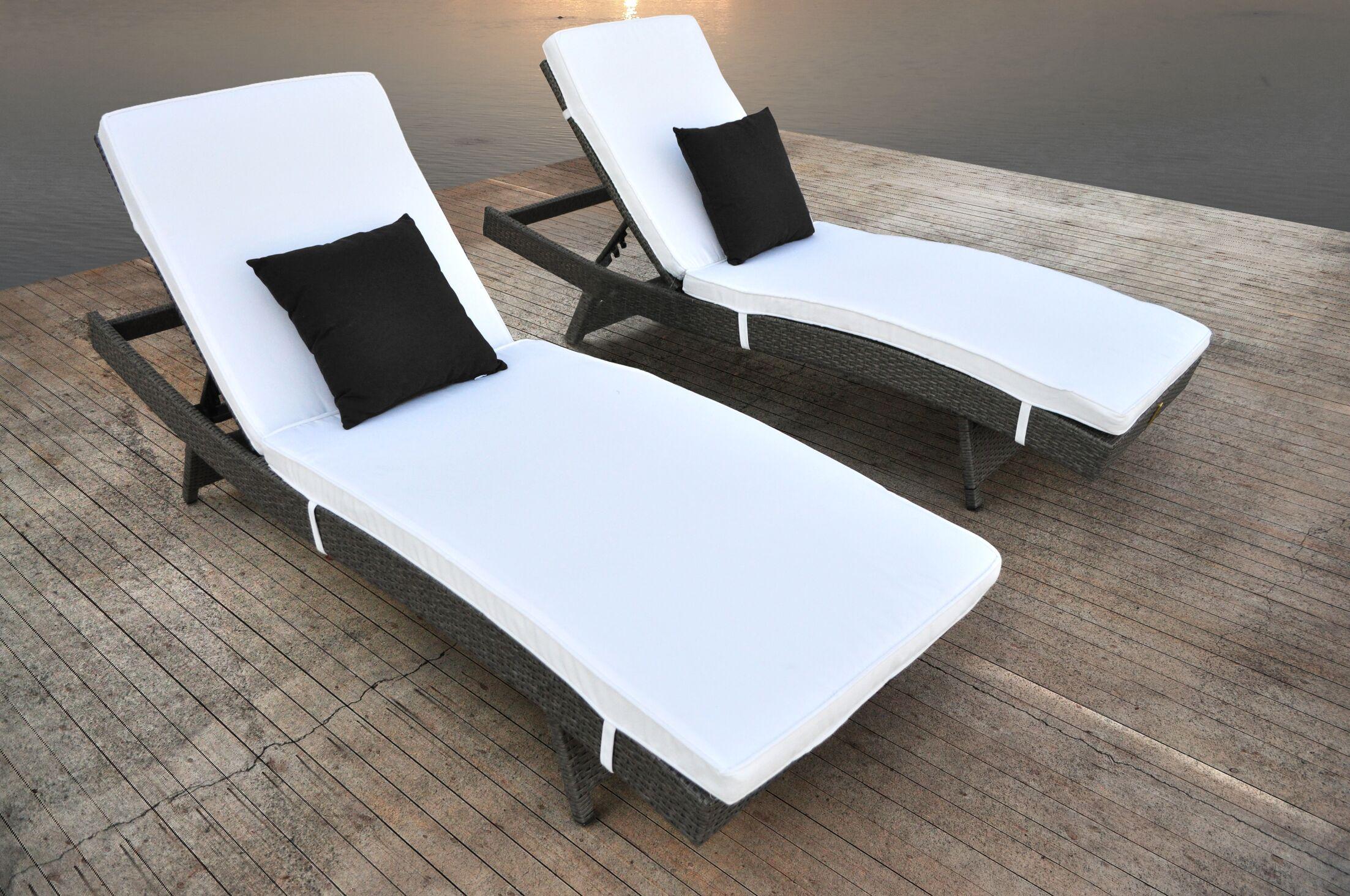 Zori Chaise Lounge with Cushion Finish: Cement Gunmetal Gray