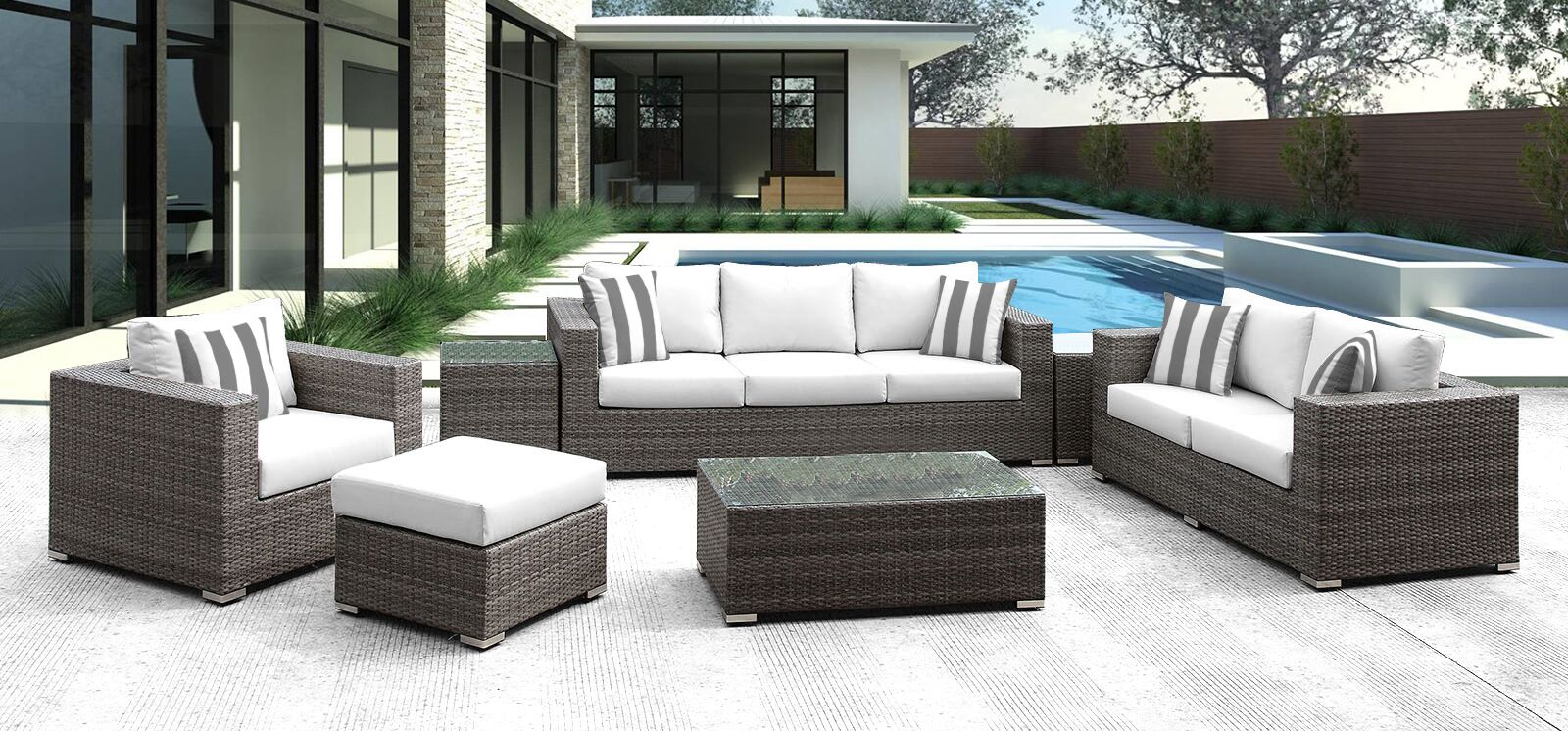 Roslindale 7 Piece Rattan Sofa Set with Cushions Color: White with Gray/White Stripe
