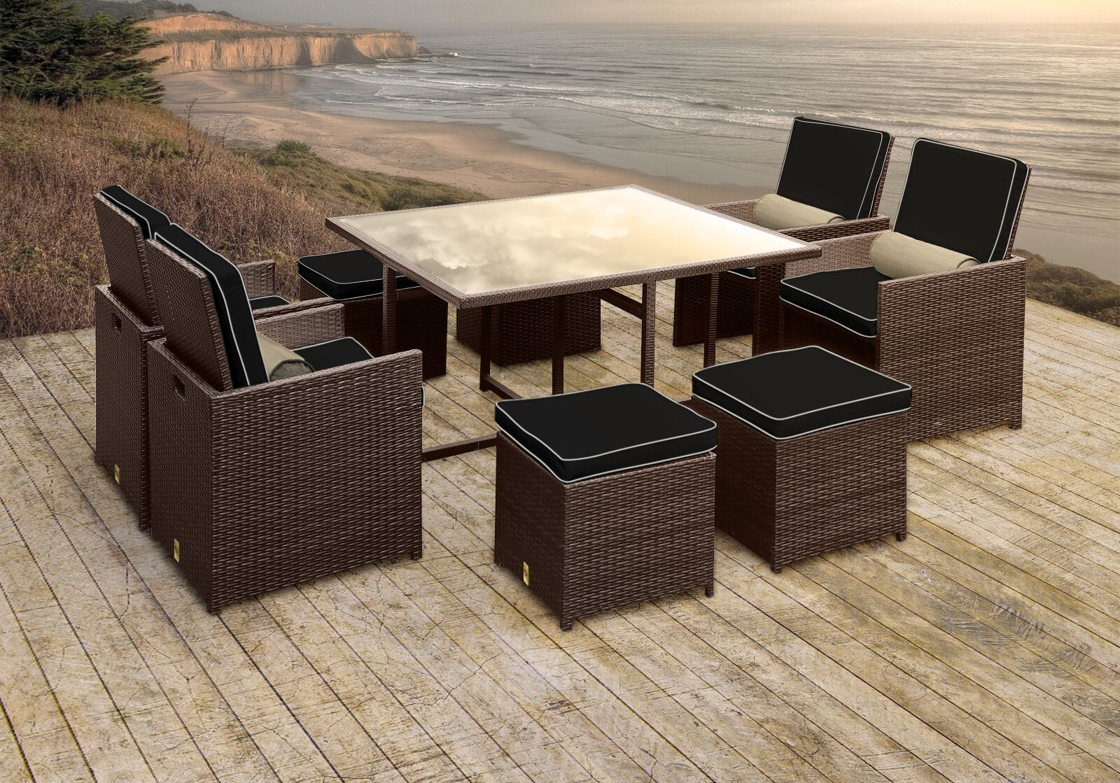 Stella II Patio Rattan 9 Piece Dining Set with Cushions and Cylinder Toss Pillows Cushion Color: Black/White