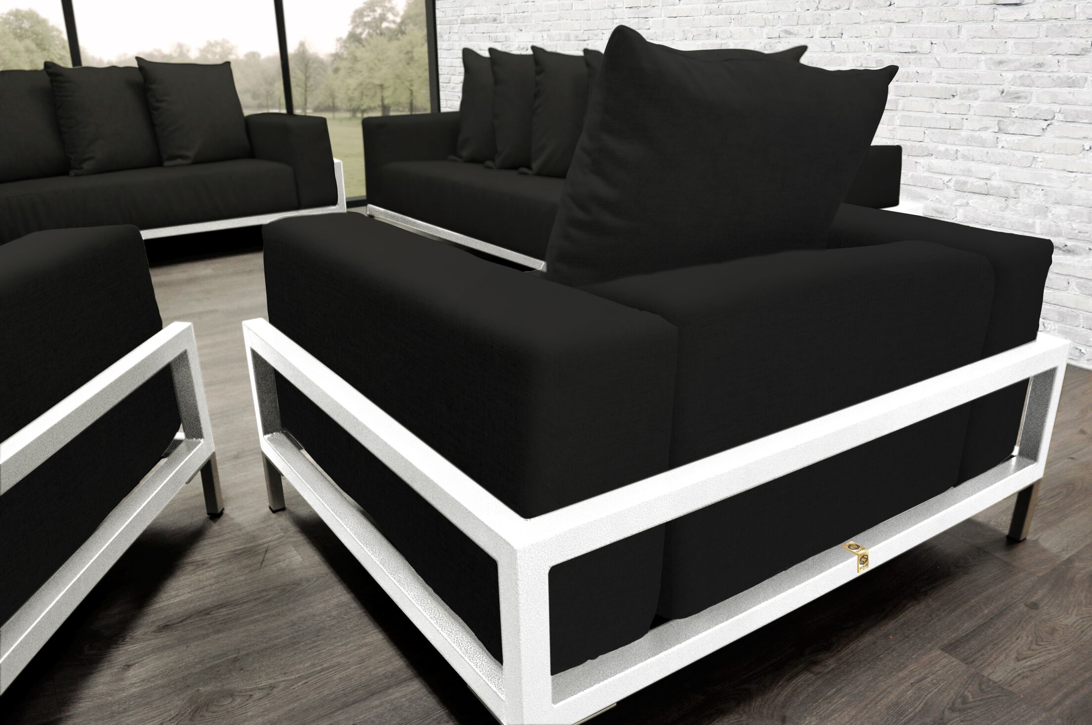 Tilly Patio 4 Piece Sofa Set With Cushions Accent Pillow Fabric: Black, Fabric: Black