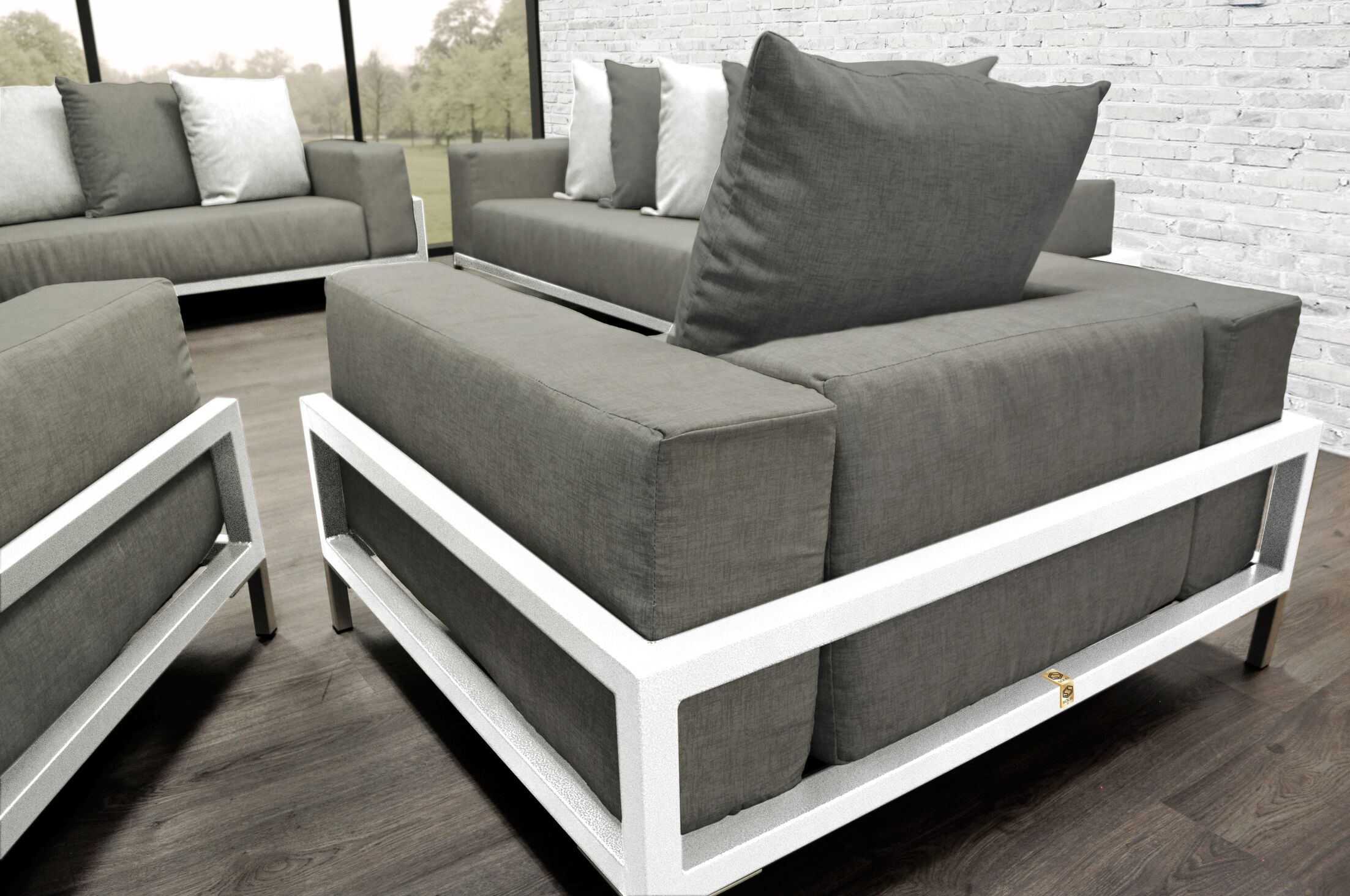 Tilly Patio 4 Piece Sofa Set With Cushions Accent Pillow Fabric: Dark Oyster/White, Fabric: Oyster