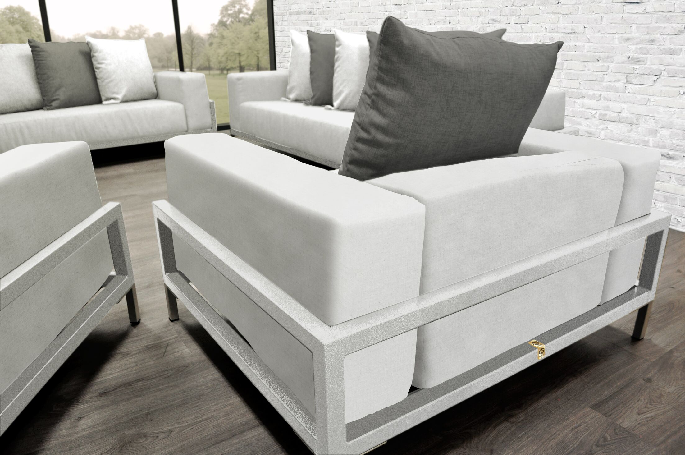 Tilly Modern 4 Piece Sofa Set with Cushions Accent Pillow Fabric: Dark Oyster/White