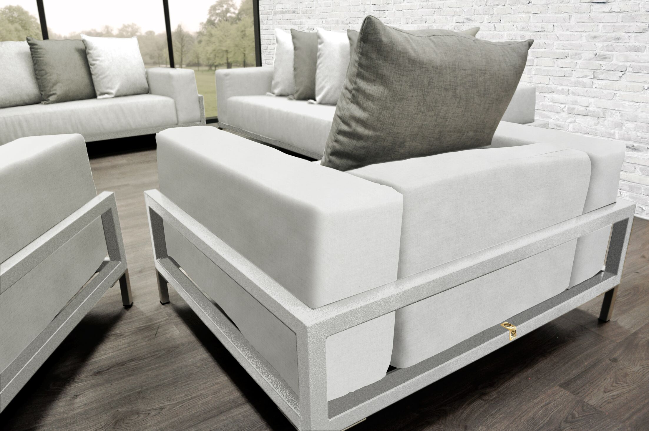 Tilly Modern 4 Piece Sofa Set with Cushions Accent Pillow Fabric: Oyster/White