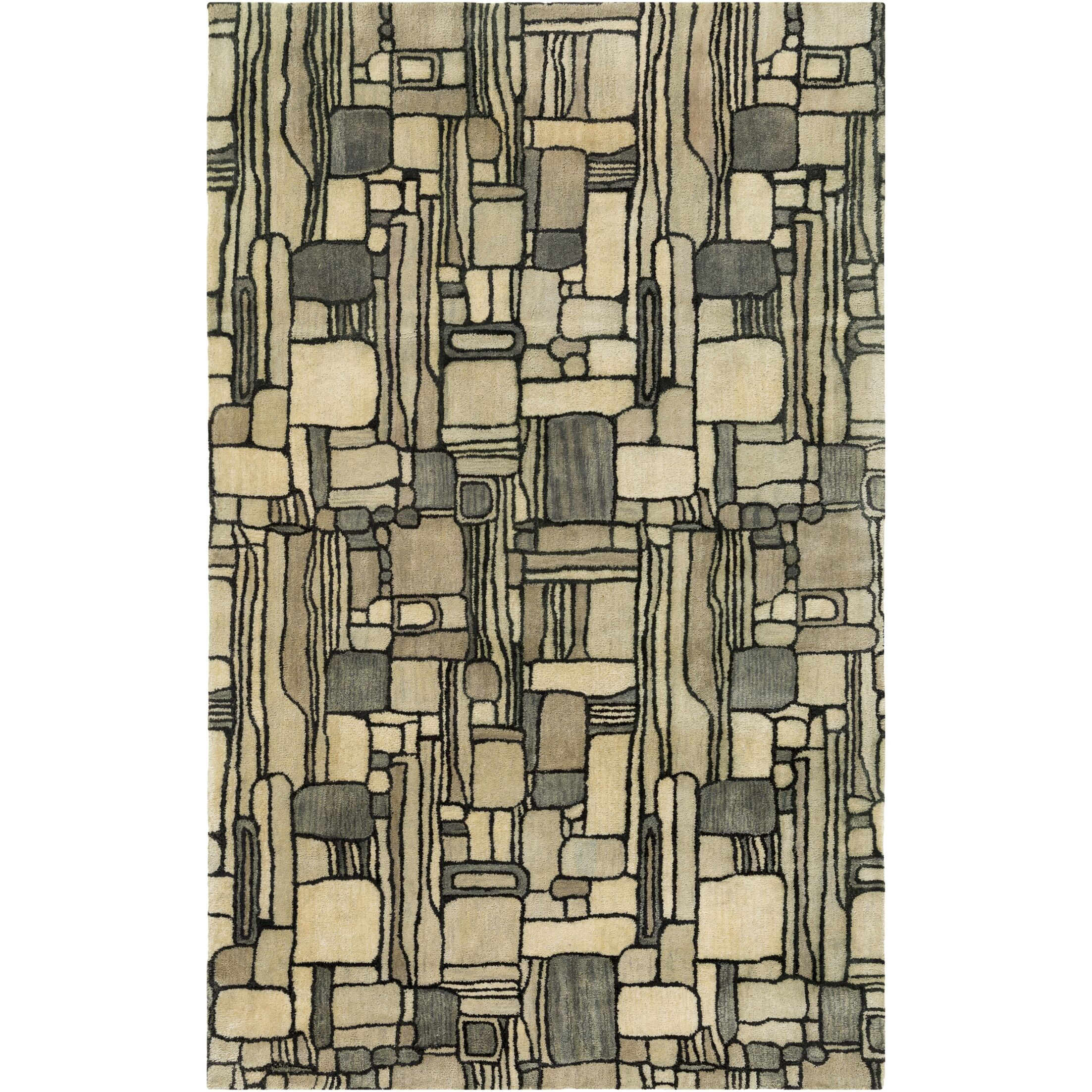 Natural Affinity Hand-Tufted Yellow/Gray Area Rug Rug Size: Rectangle 2' x 3'