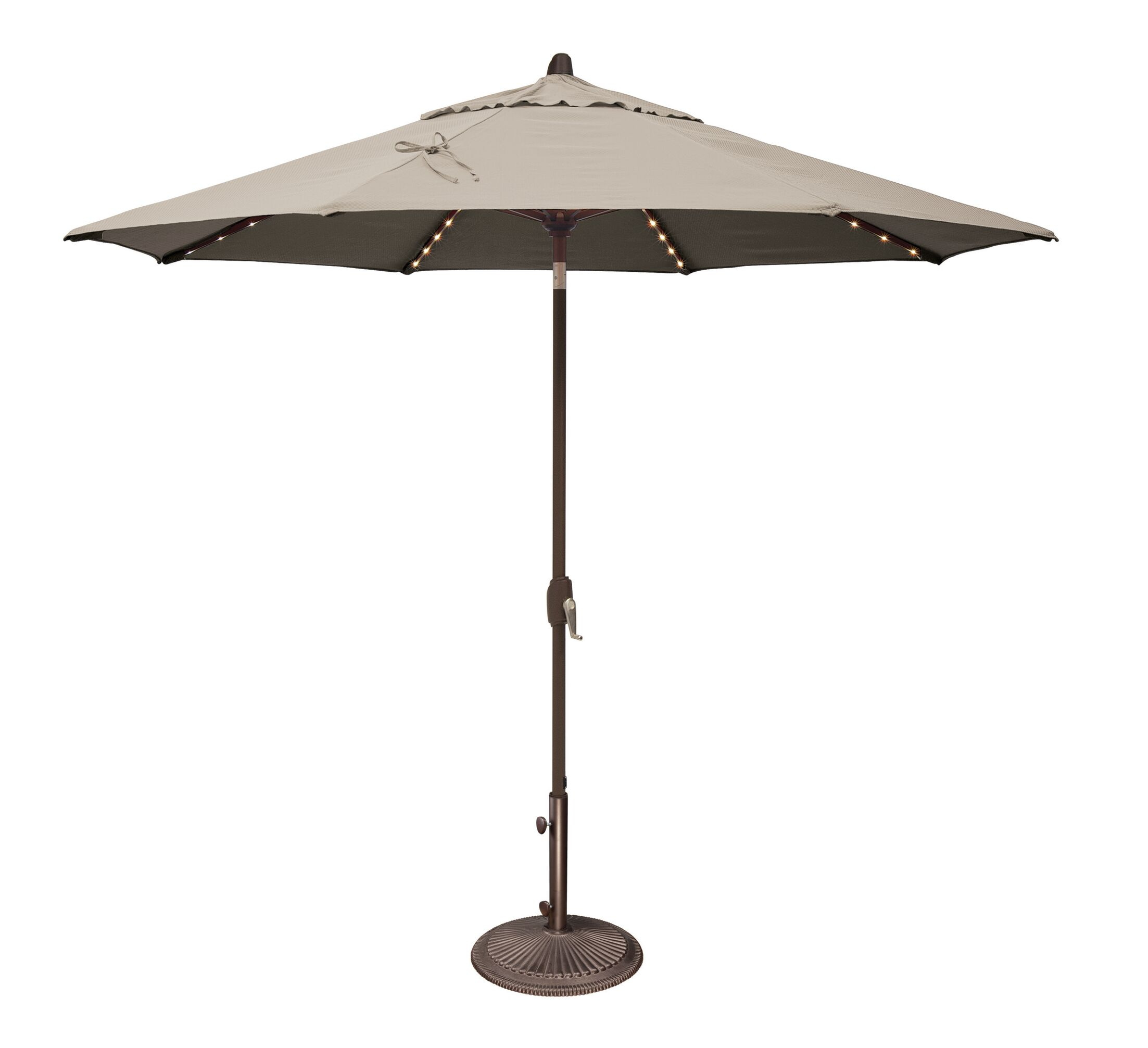 Lanai 9' Lighted Umbrella Fabric: Sunbrella / Antique Beige