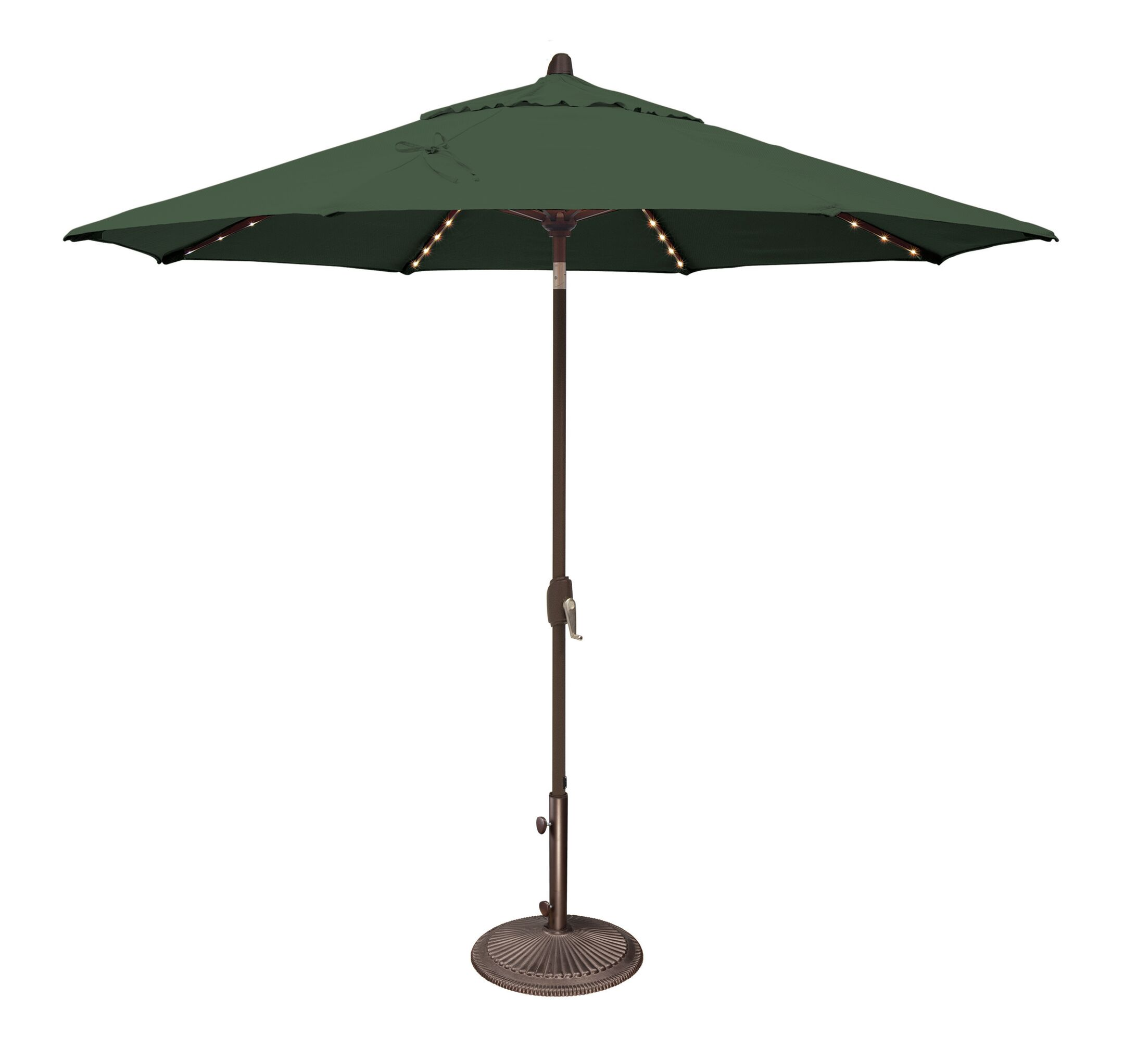 Lanai 9' Lighted Umbrella Fabric: Solefin / Forest Green