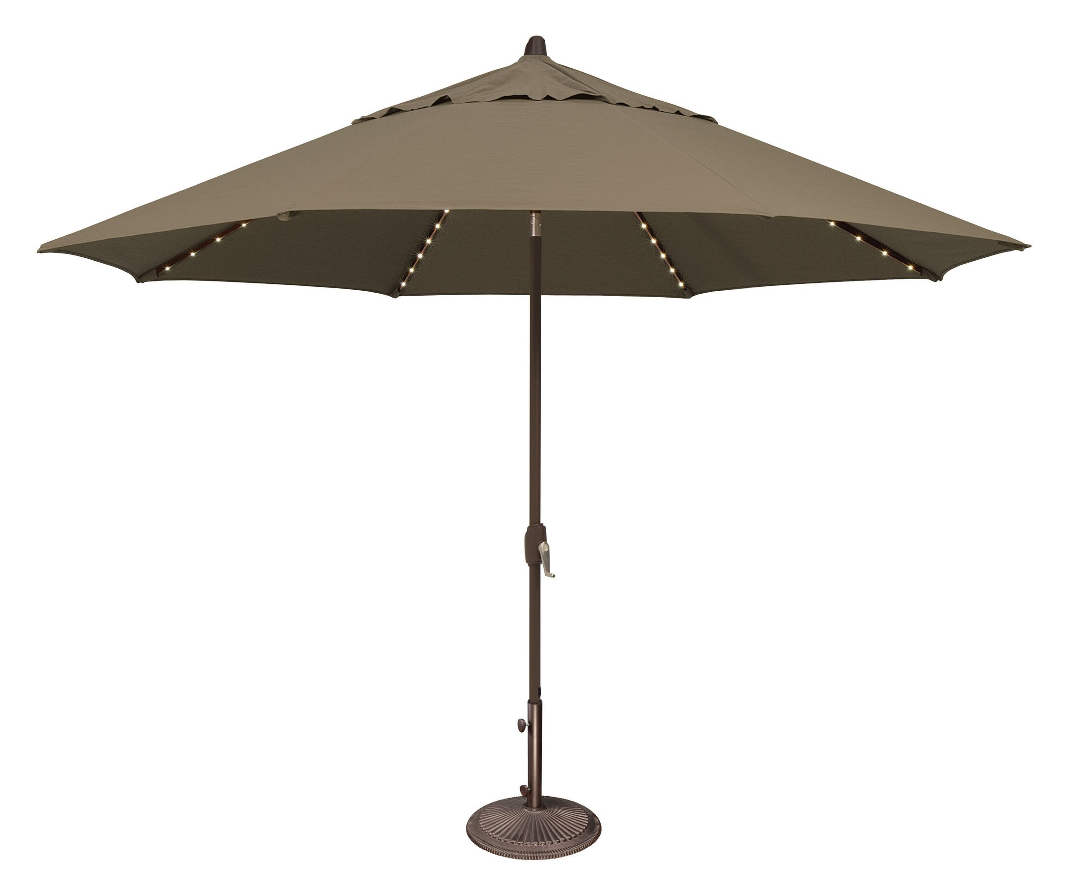 Lanai 11' Lighted Umbrella Fabric: Solefin / Taupe