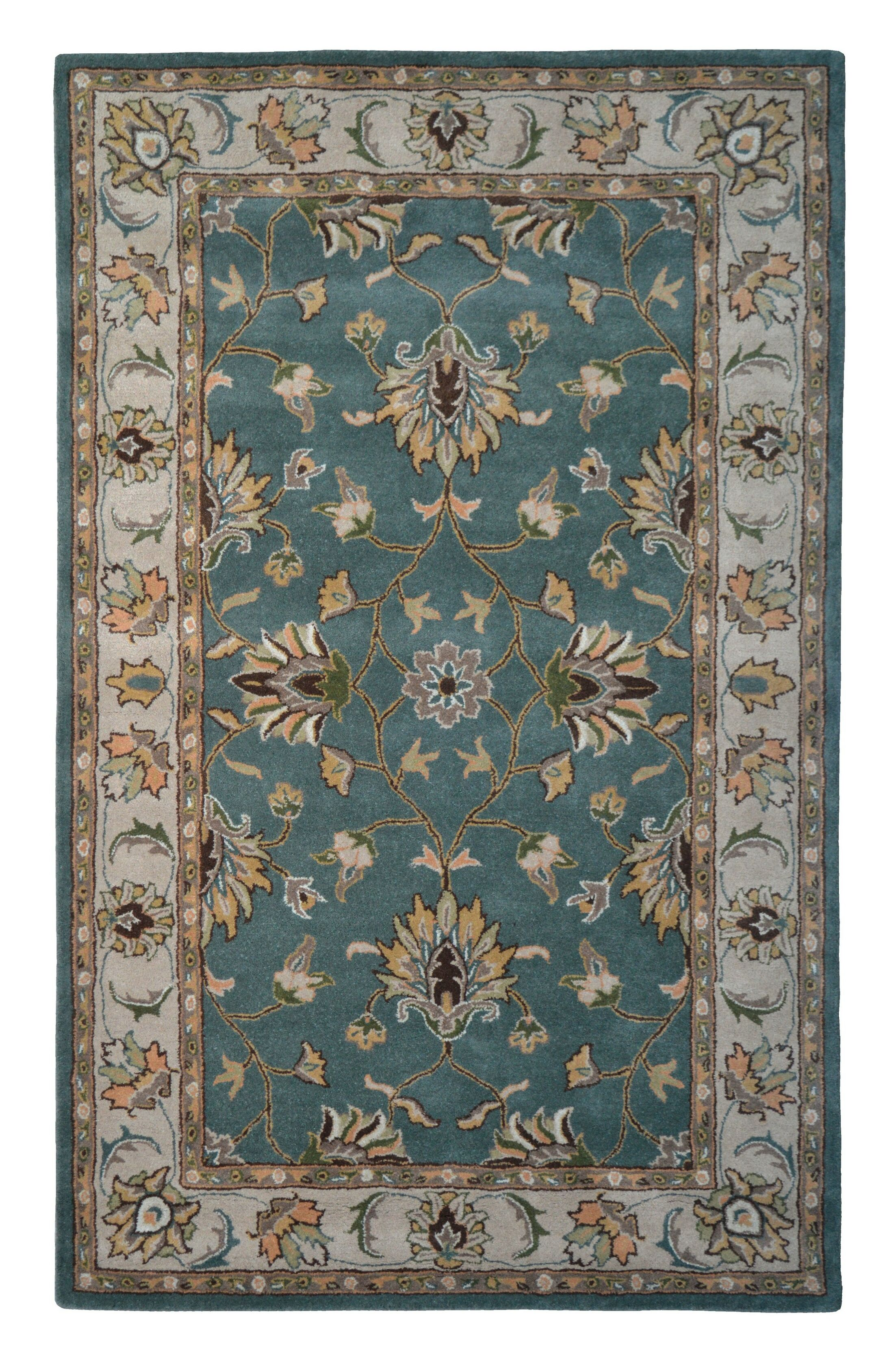 Wool Hand-Tufted Beige/Green Area Rug Rug Size: 5' x 8'
