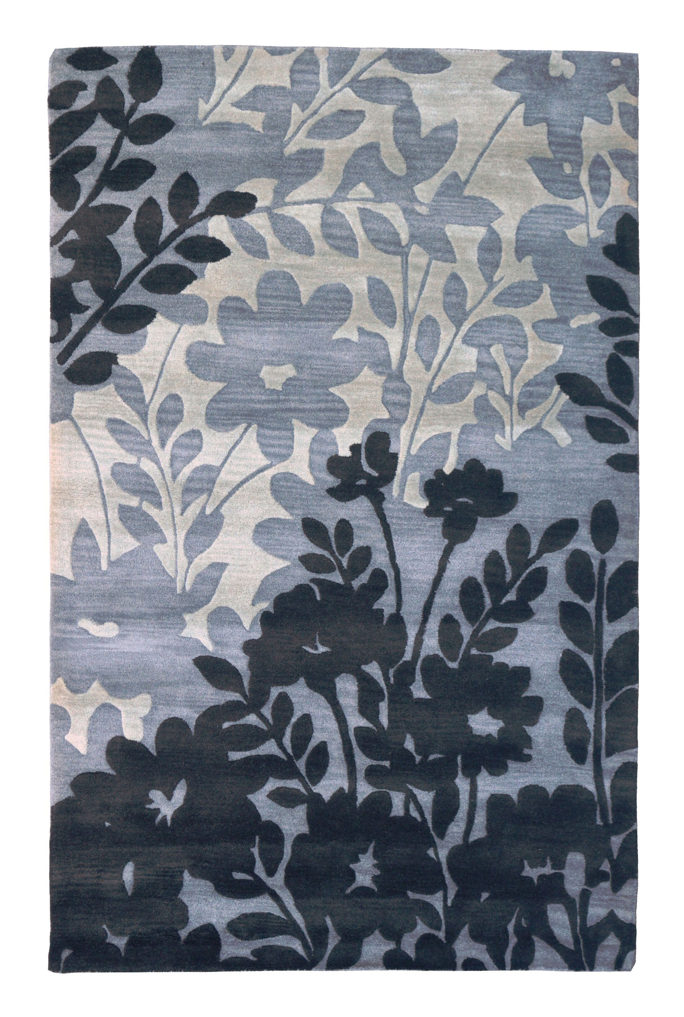 Wool Floral Hand-Tufted Gray/Black Area Rug Rug Size: 5' x 8'