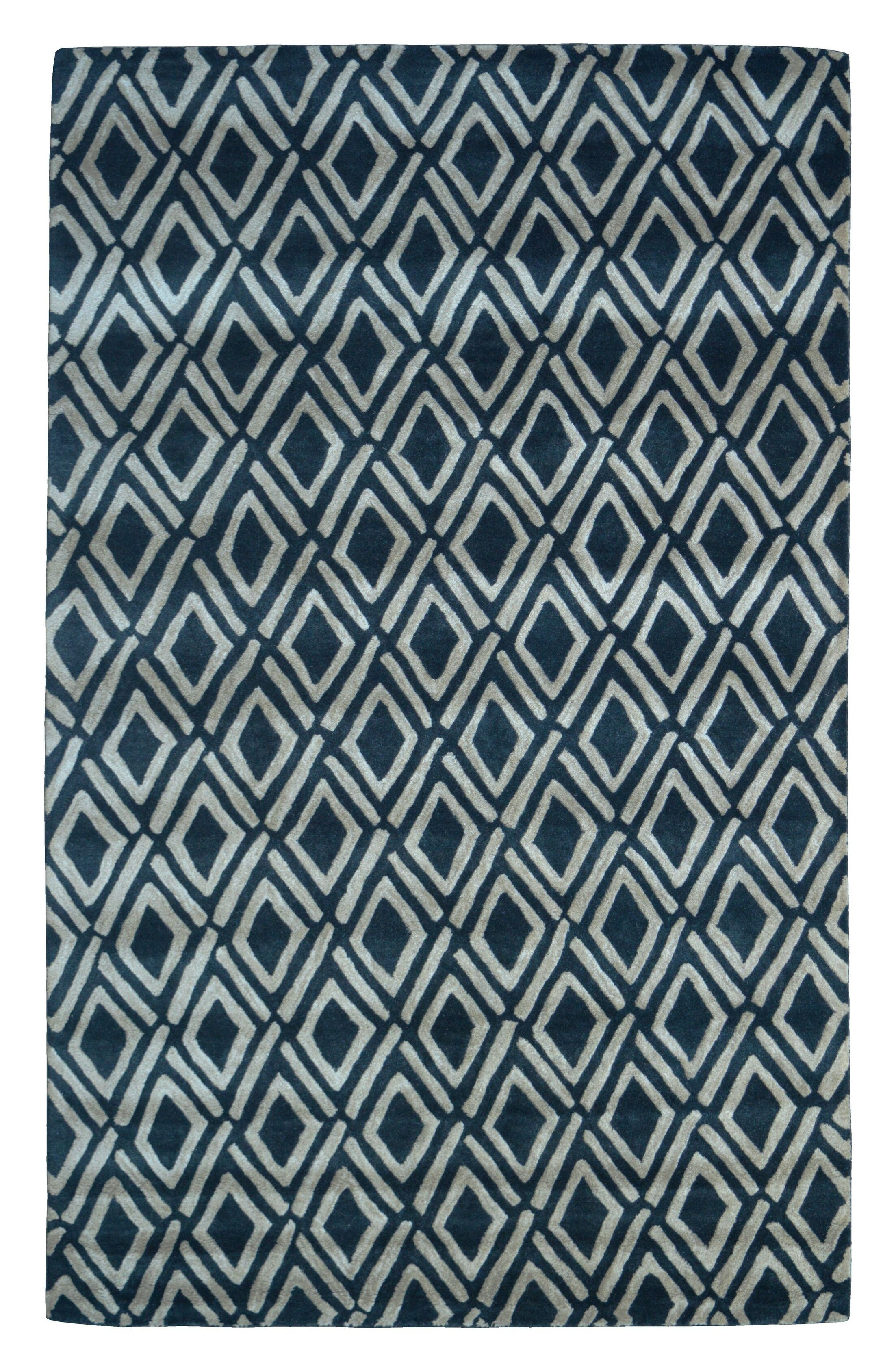 Wool Hand-Tufted Black/Ivory Area Rug Rug Size: Rectangle 5' x 8'