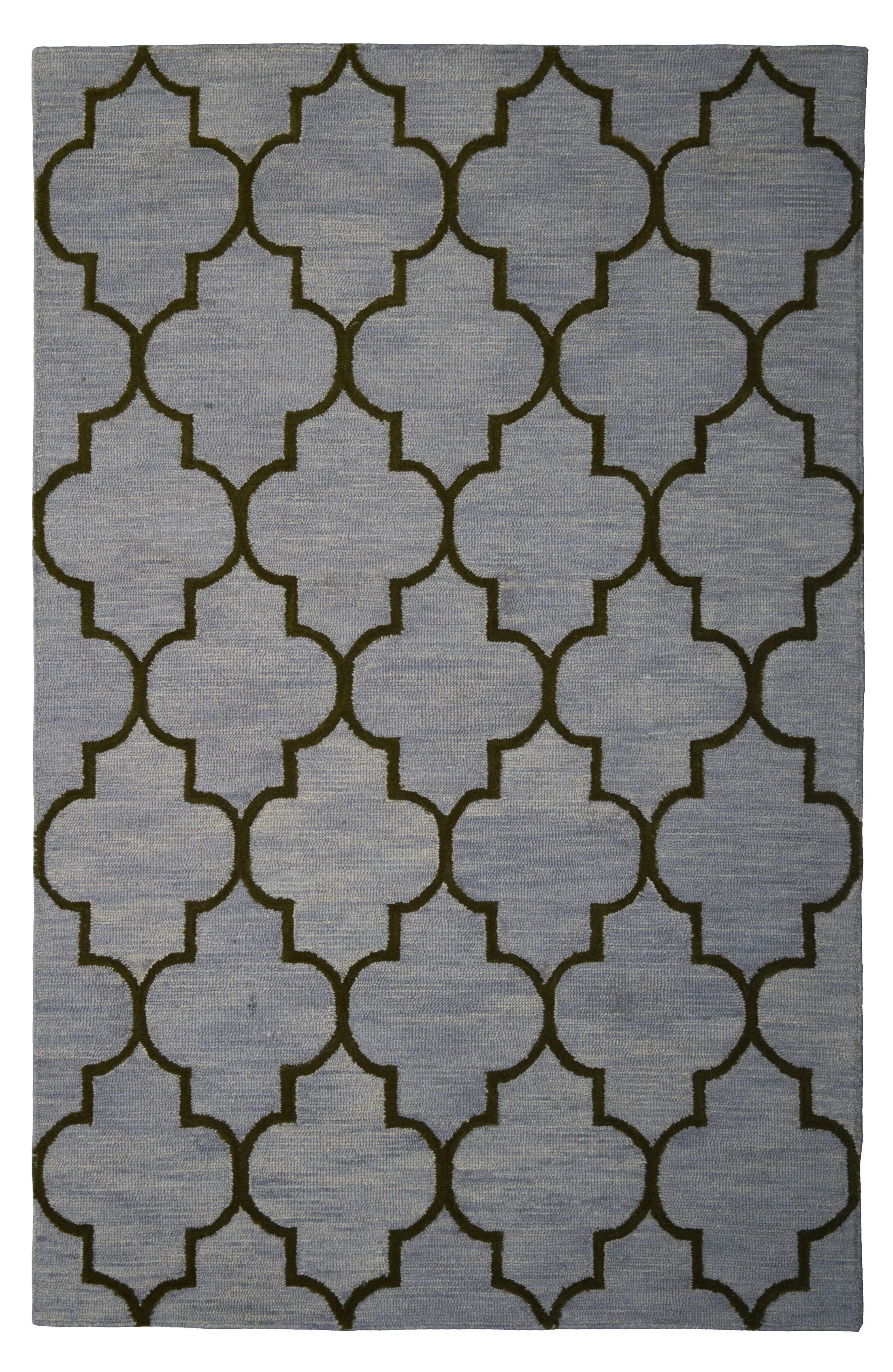 Wool Hand-Tufted Gray/Green Area Rug Rug Size: 5' x 8'