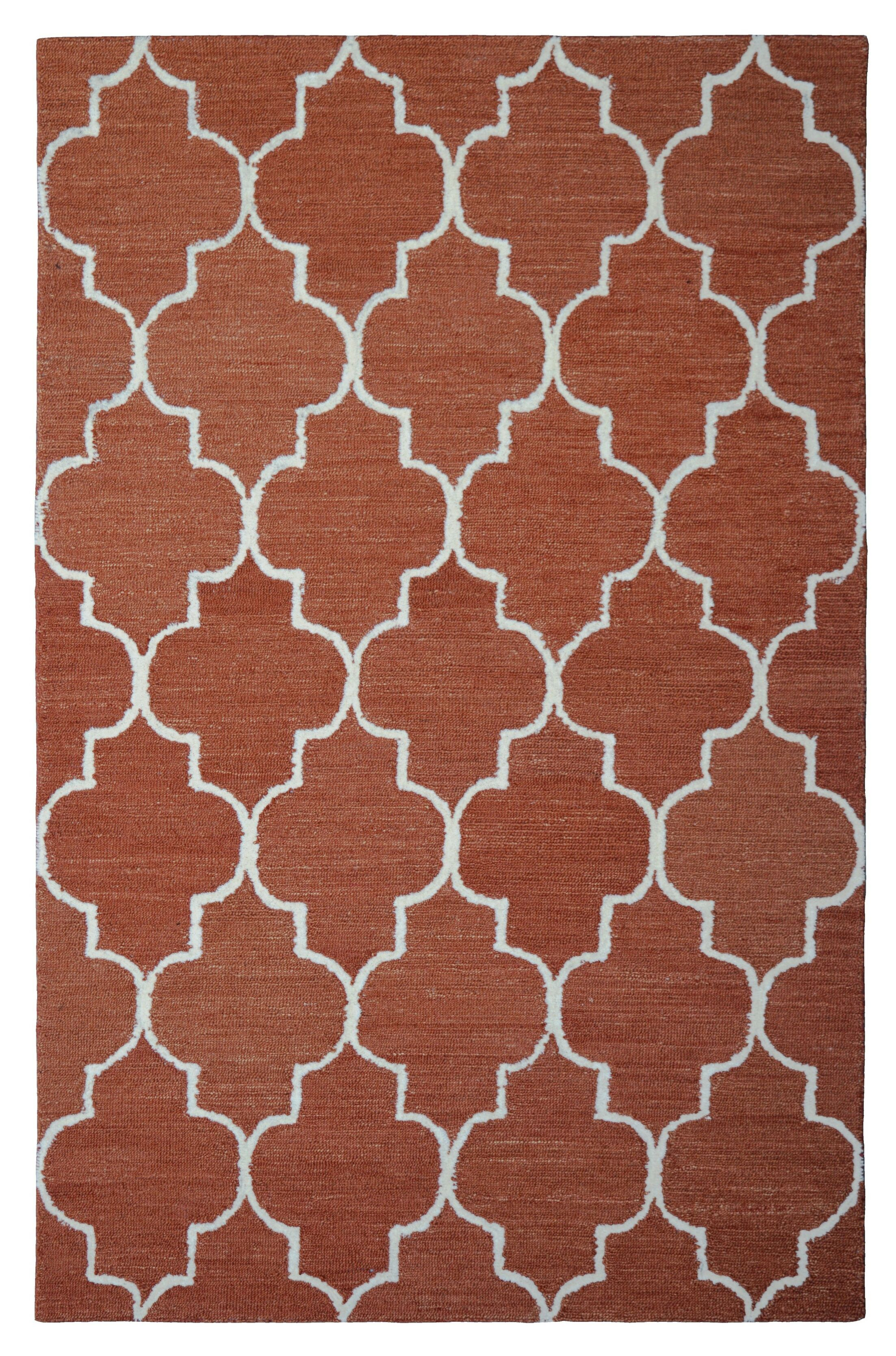 Wool Hand-Tufted Rust/Ivory Area Rug Rug Size: 5' x 8'