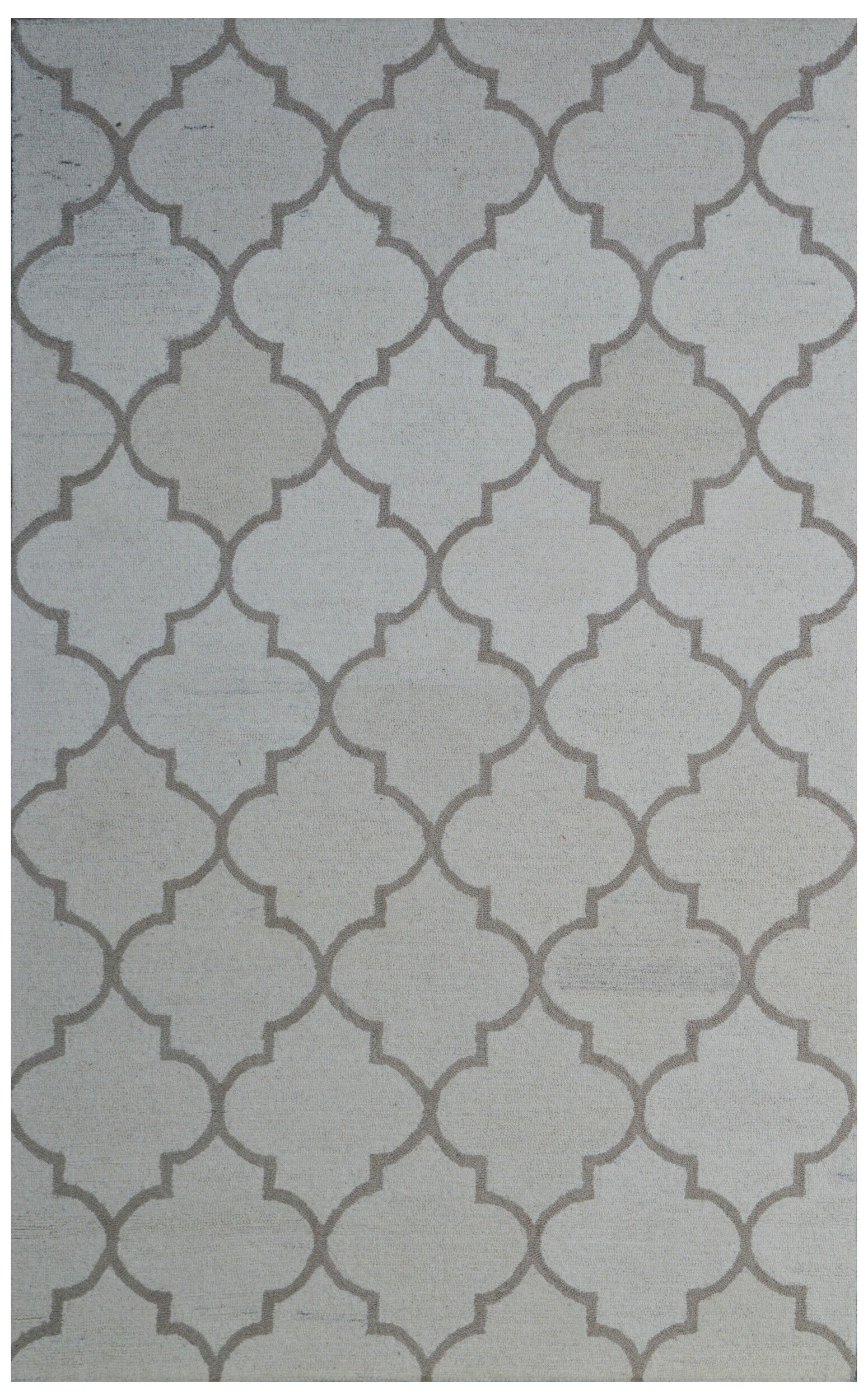 Wool Hand-Tufted Ivory/Rust Area Rug Rug Size: 5' x 8'