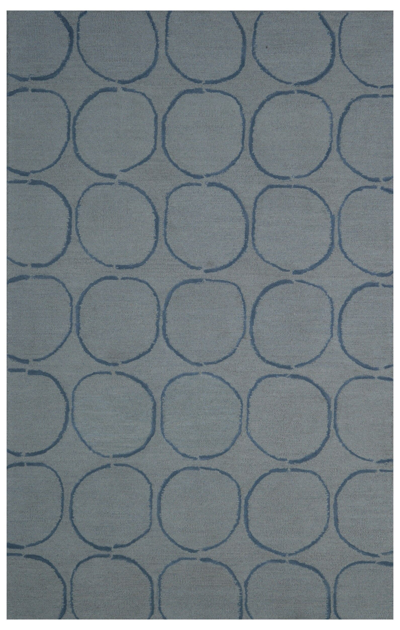 Wool Hand-Tufted Gray/Blue Area Rug Rug Size: 5' x 8'