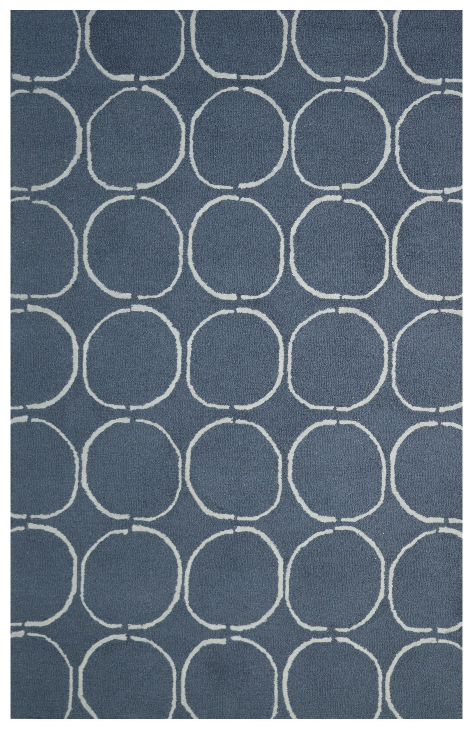 Wool Hand-Tufted Navy Blue/Ivory Area Rug Rug Size: 5' x 8'