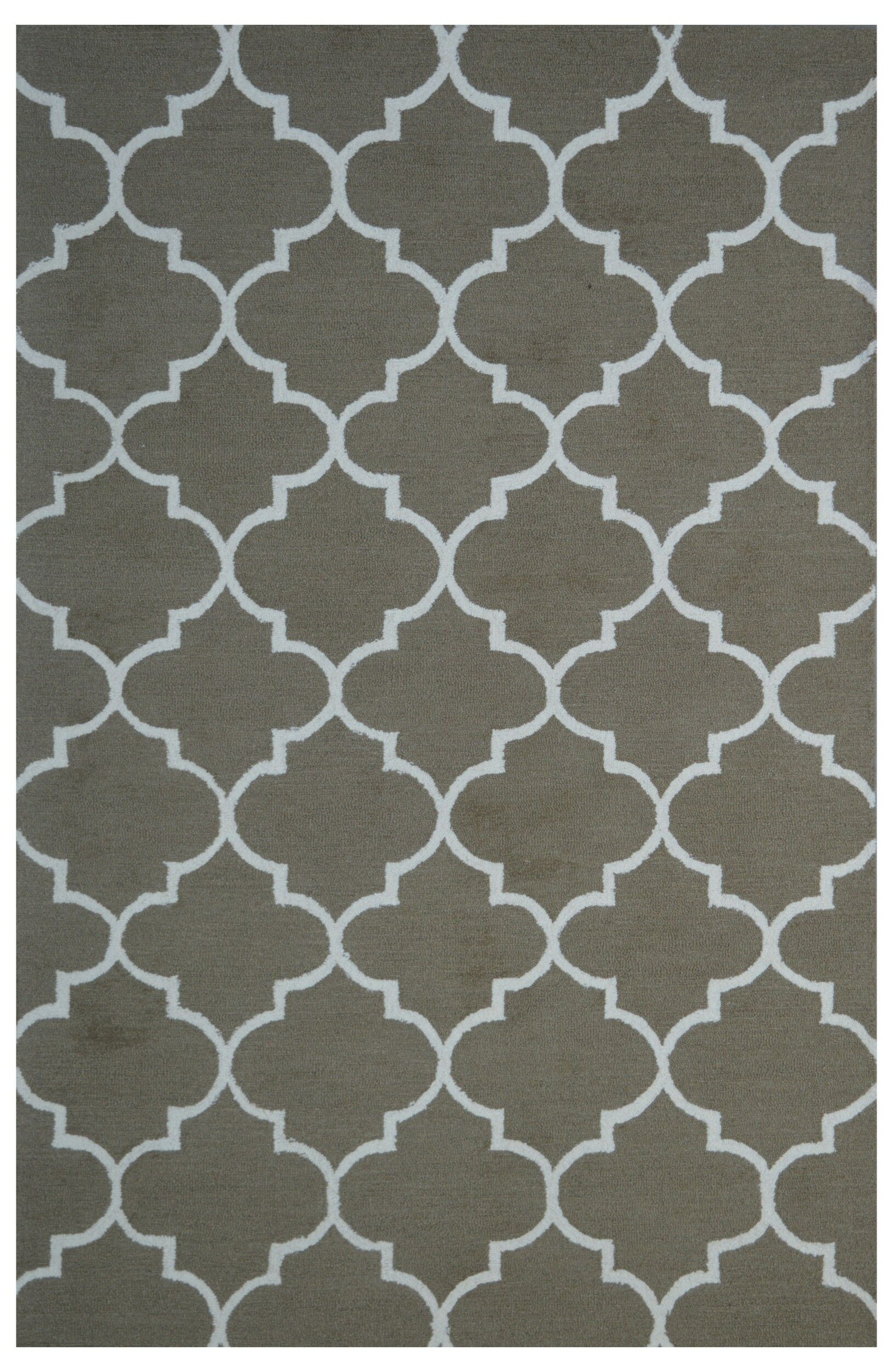 Wool Hand-Tufted Gray Area Rug Rug Size: 5' x 8'