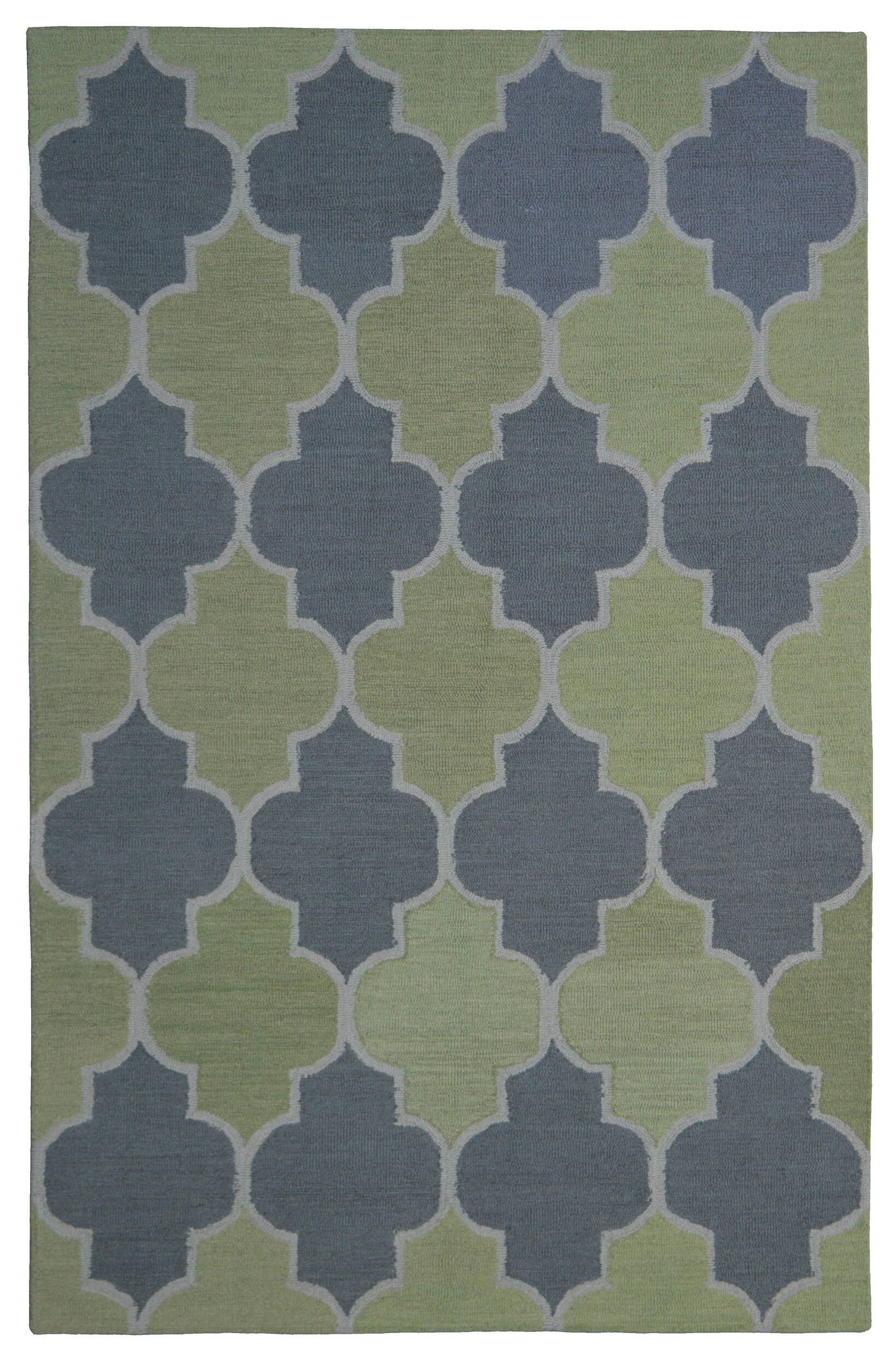Wool Hand-Tufted Green/Silver Area Rug Rug Size: 5' x 8'