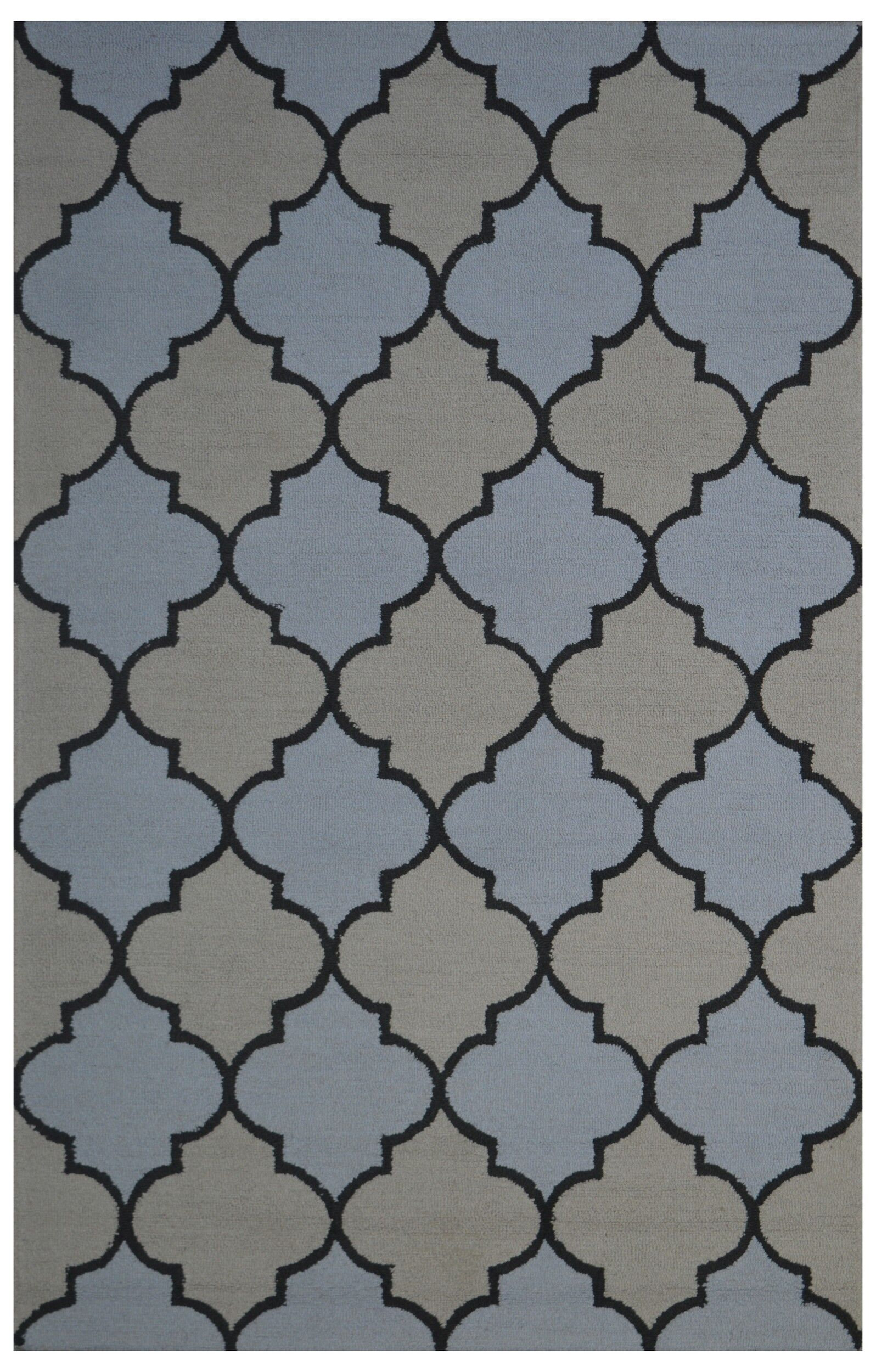 Wool Hand-Tufted Beige/Light Blue Area Rug Rug Size: 5' x 8'