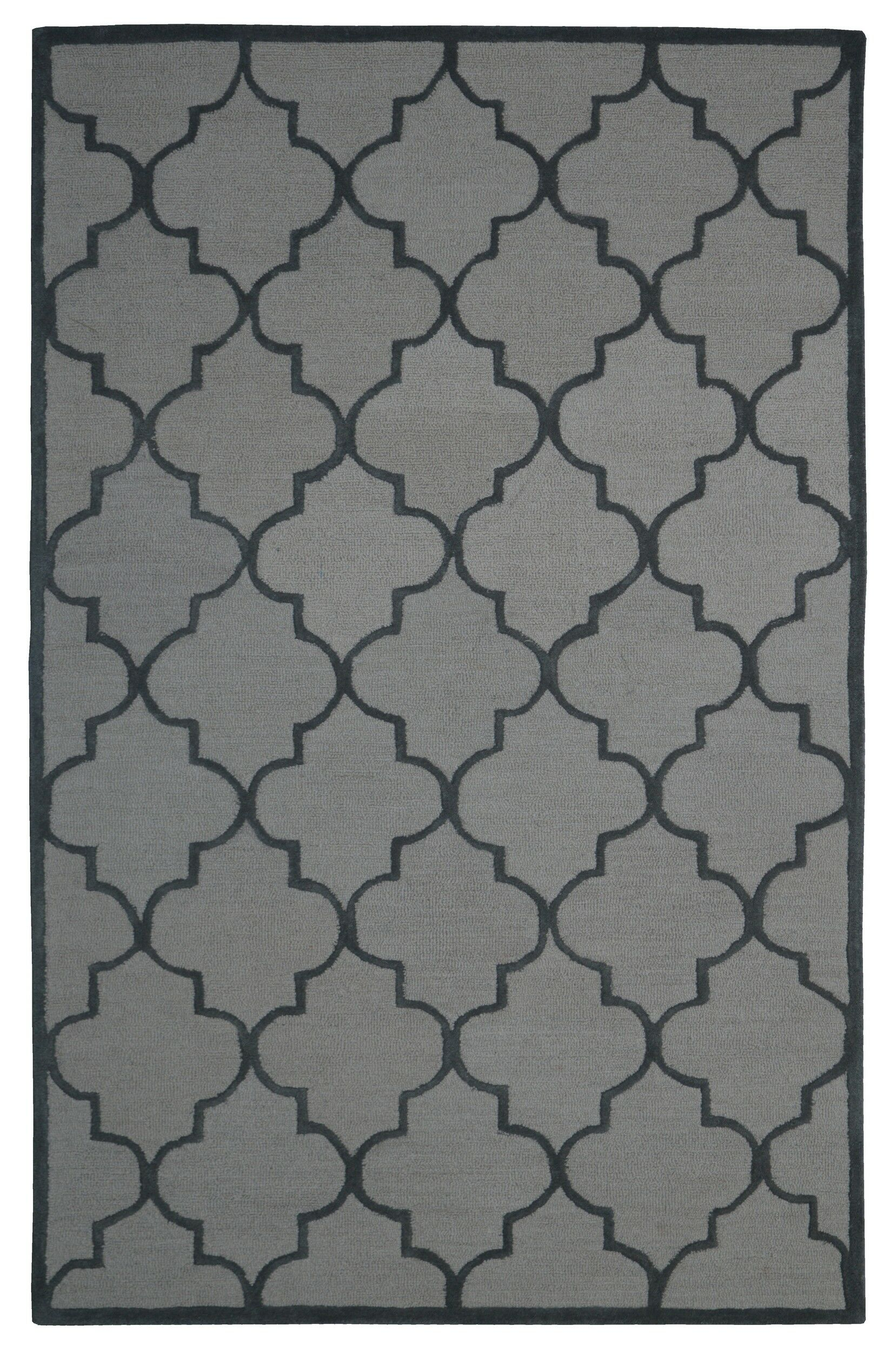 Wool Hand-Tufted Beige/Gray Area Rug Rug Size: 5' x 8'
