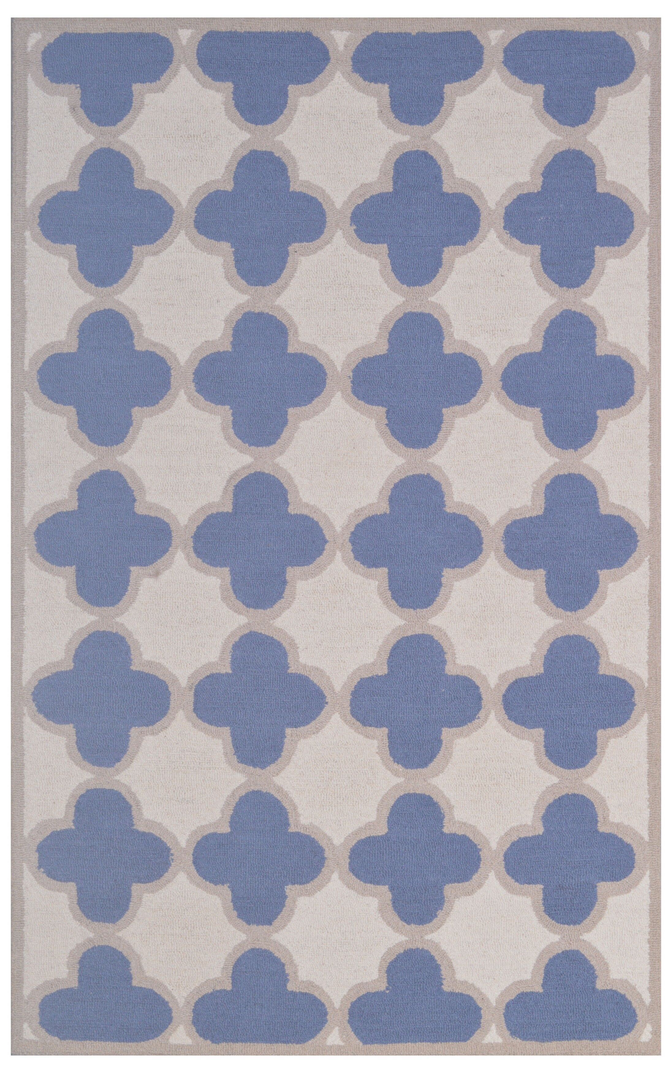 Wool Hand-Tufted Ivory/Blue Area Rug Rug Size: 5' x 8'