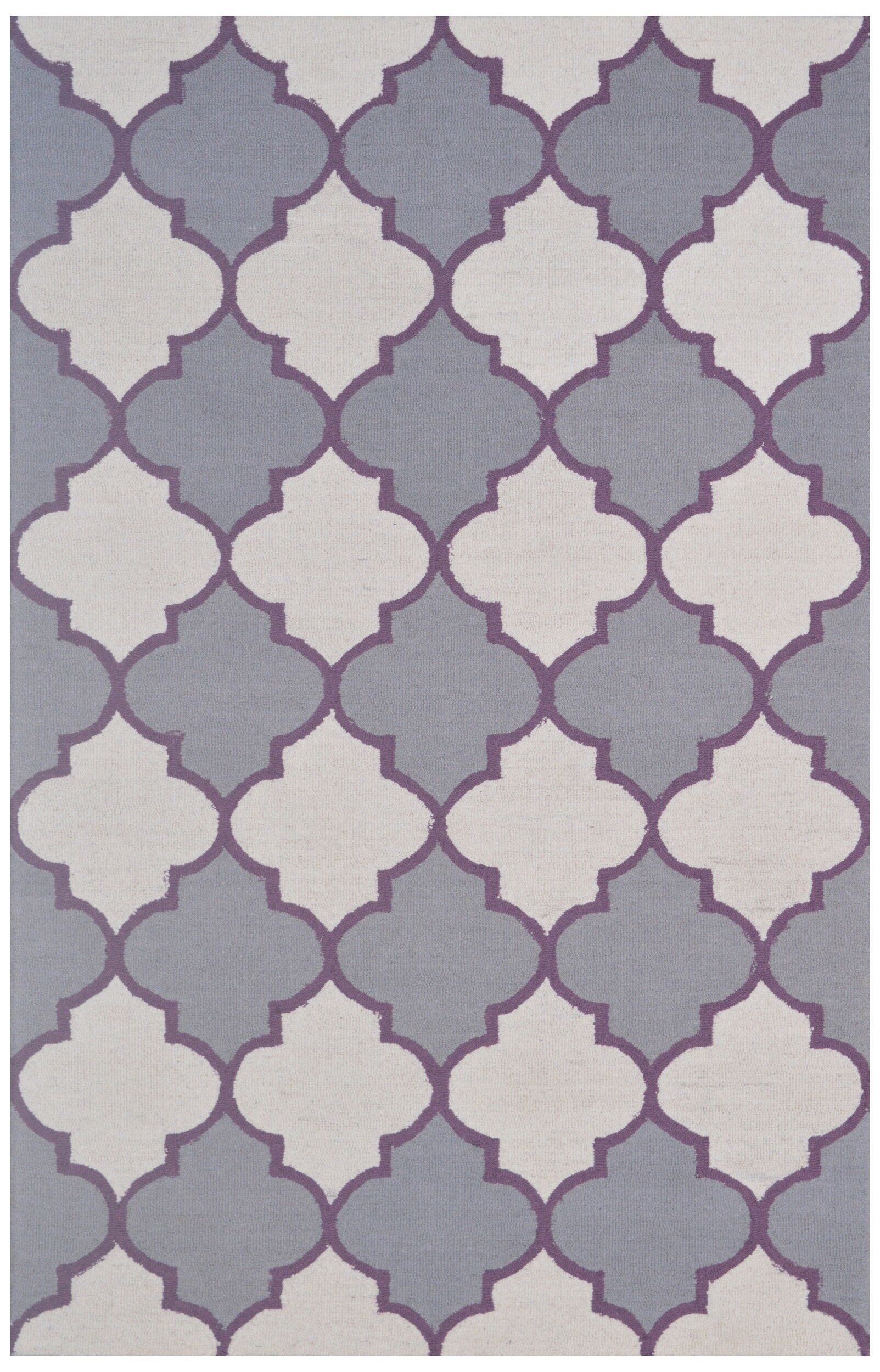 Wool Hand-Tufted Ivory/Gray Area Rug Rug Size: 5' x 8'