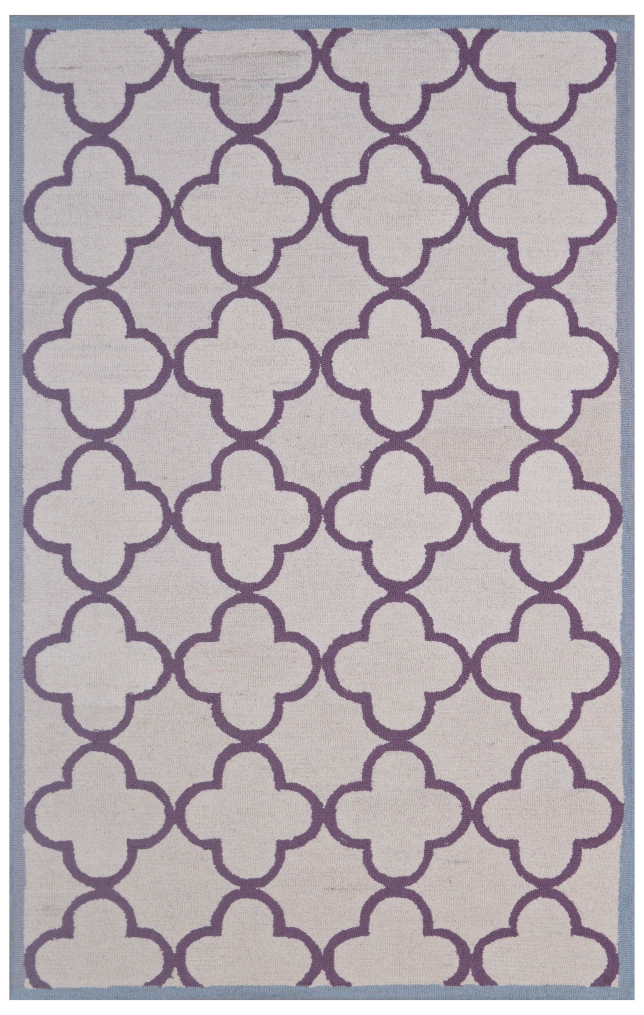 Wool Hand-Tufted Ivory/Purple Area Rug Rug Size: 5' x 8'