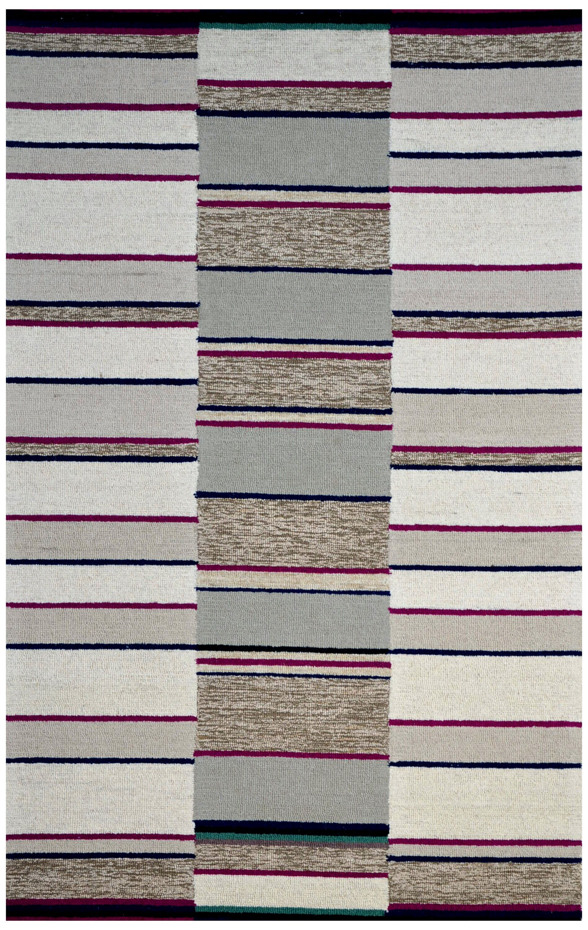 Hand-Woven Ivory/Gray Area Rug Rug Size: 5' x 8'