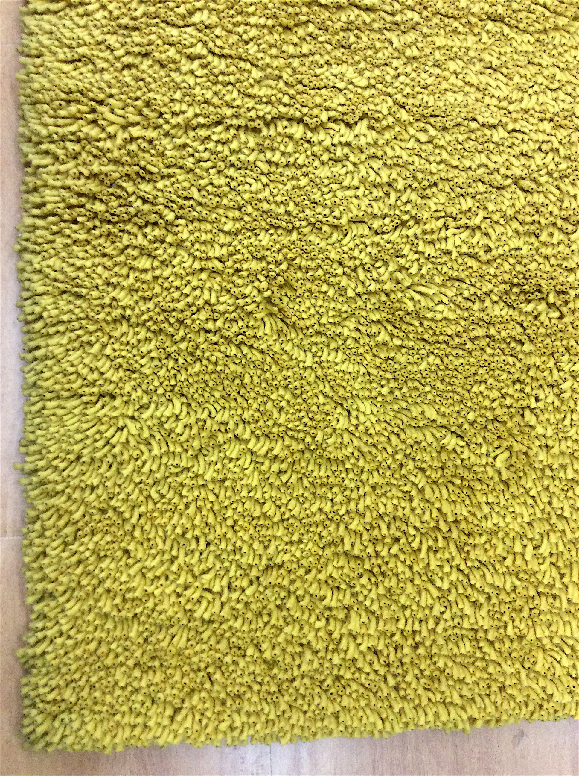 Shag Eyeball Woolen Mustard Hand Knotted Yellow Area Rug Rug Size: Round 10'