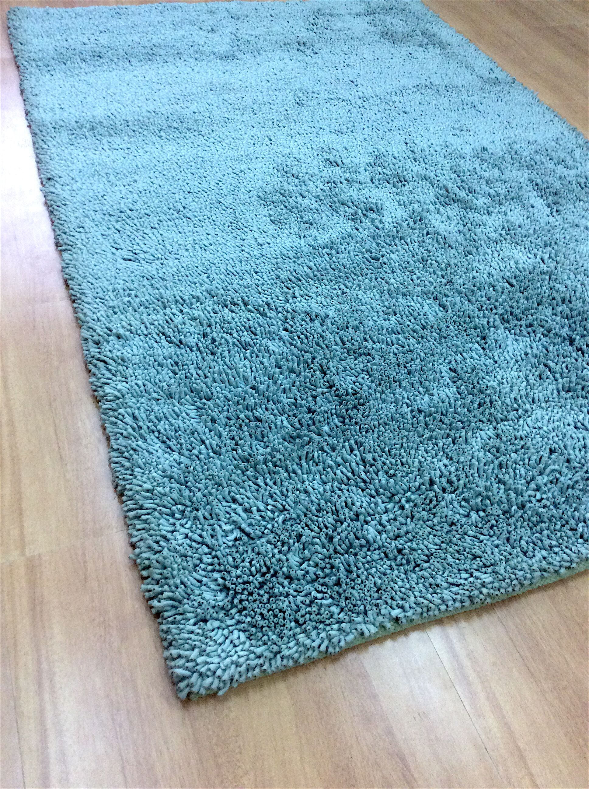 Shag Eyeball Woolen Hand Knotted Ice Blue Area Rug Rug Size: Rectangle 10' x 13'