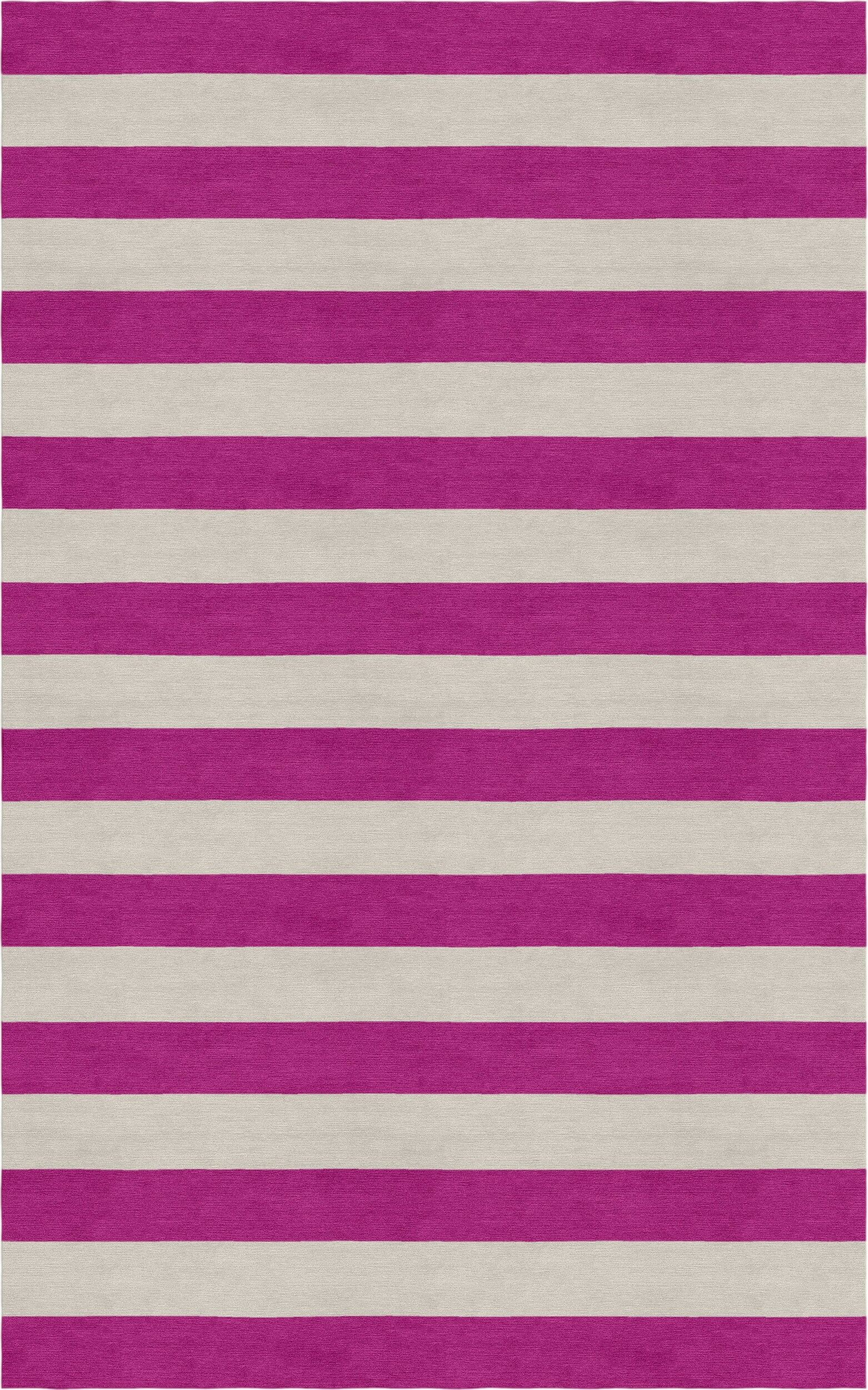 Crites Stripe Hand-Tufted Wool Silver/Magenta Area Rug Rug Size: Rectangle 8' x 10'