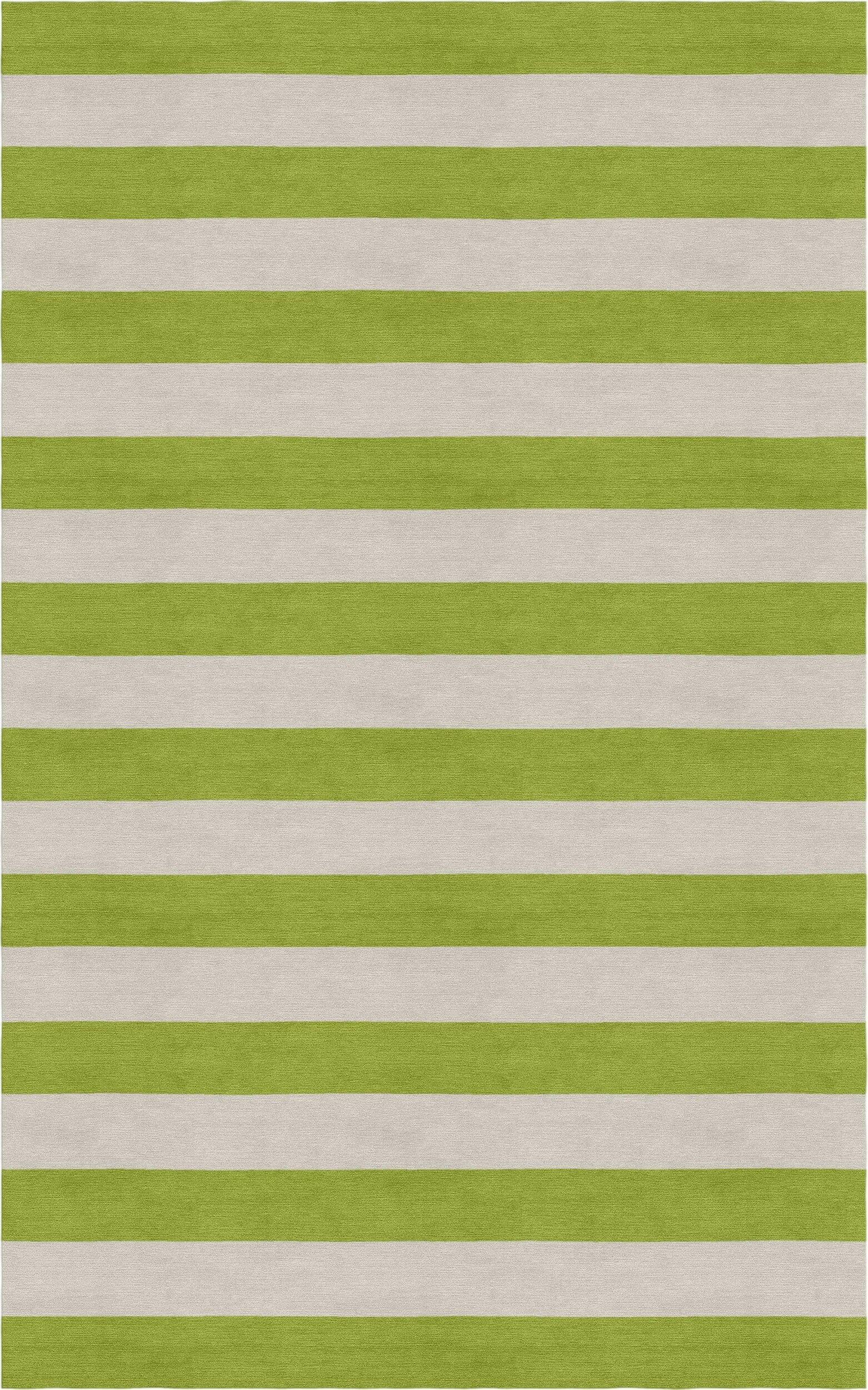 Cervantez Hand Tufted Wool Silver/Olive Green Stripe Area Rug Rug Size: Rectangle 6' x 9'