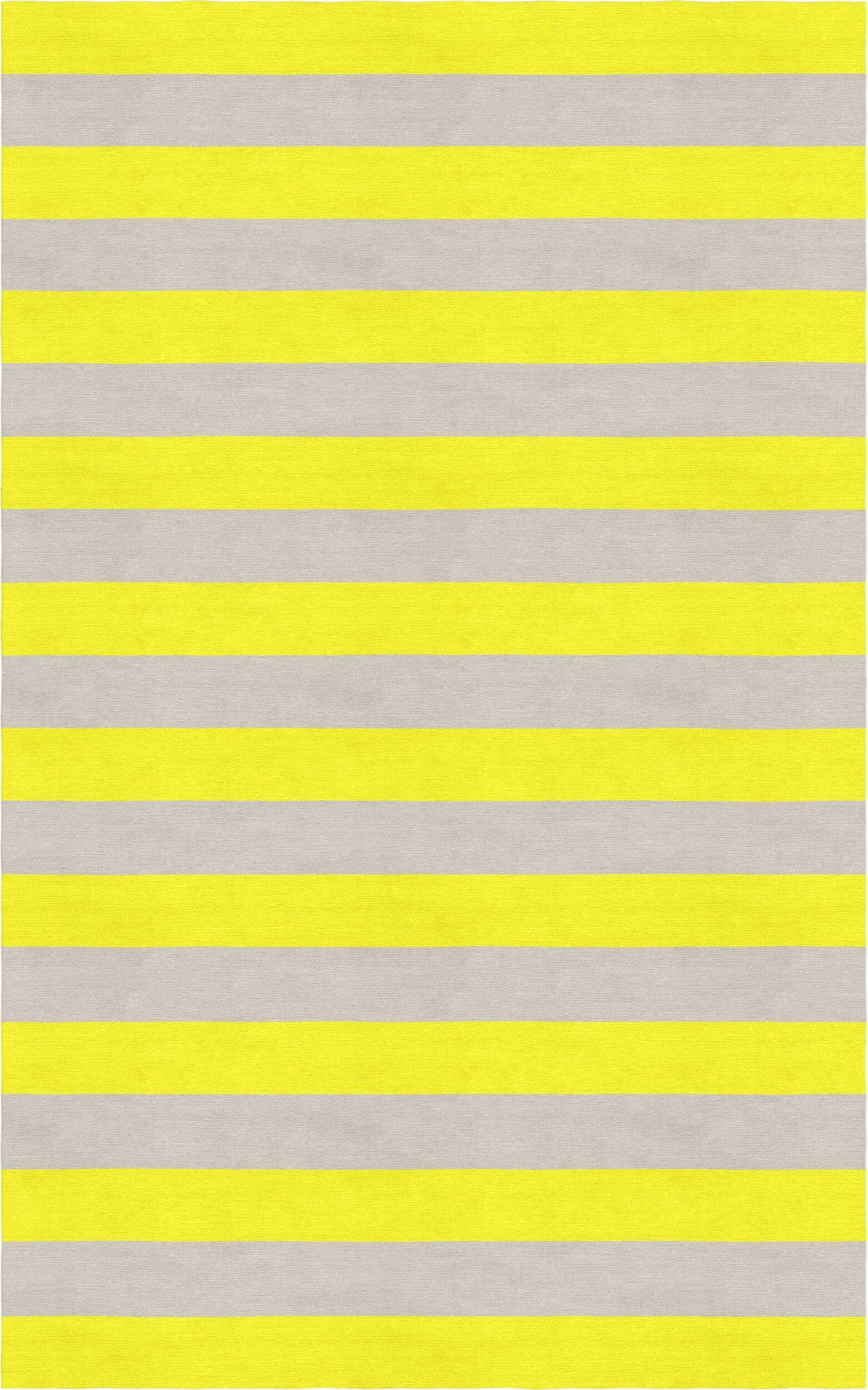 Cespedes Hand Tufted Wool Silver/Yellow Stripe Area Rug Rug Size: Rectangle 5' x 8'
