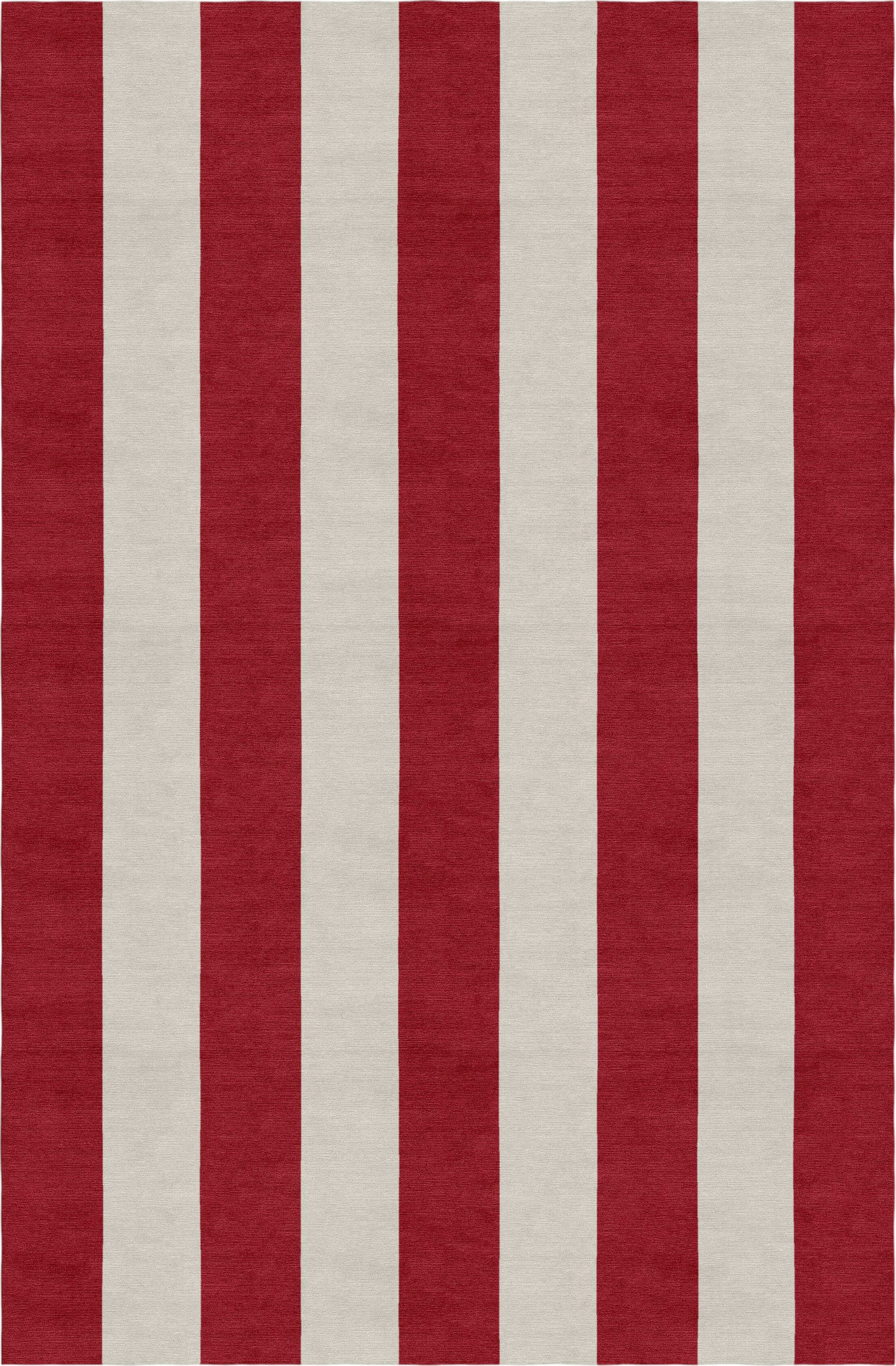 Claverton Stripe Hand-Woven Wool Silver/Red Area Rug Rug Size: Rectangle 8' X 10'