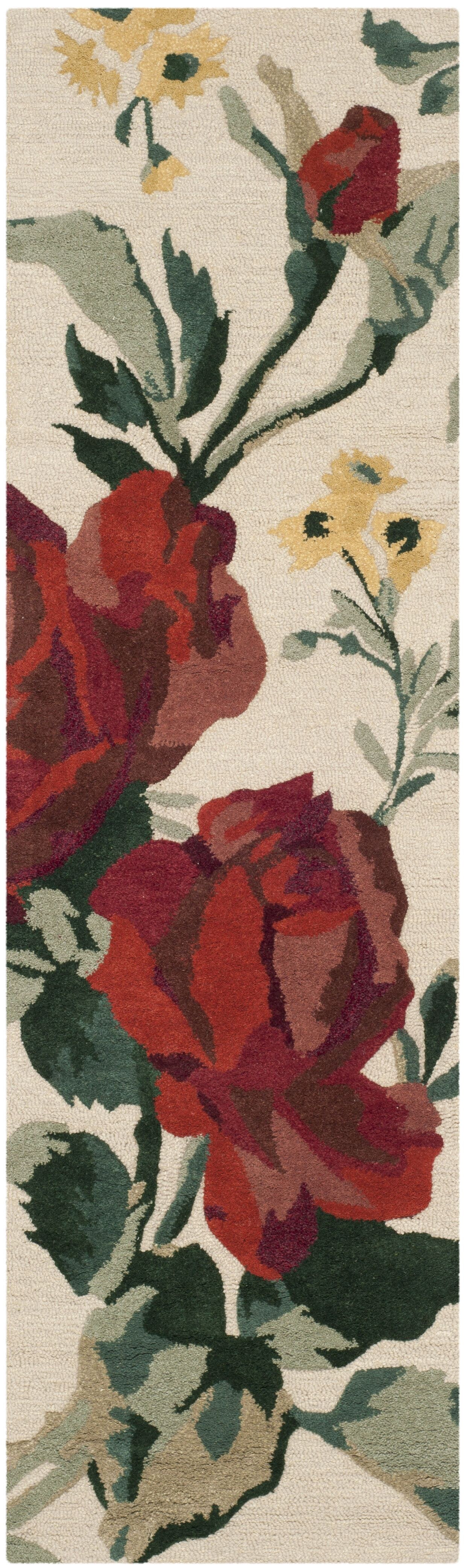 Rose Chintz Hand-Loomed Shortbread Area Rug Rug Size: Runner 2'3