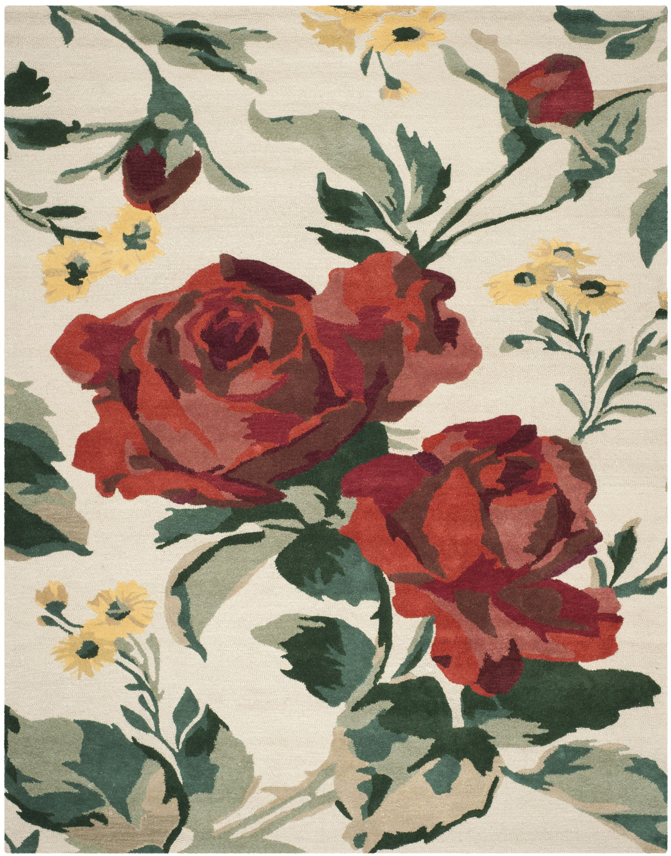 Rose Chintz Hand-Loomed Shortbread Area Rug Rug Size: Rectangle 8' x 10'