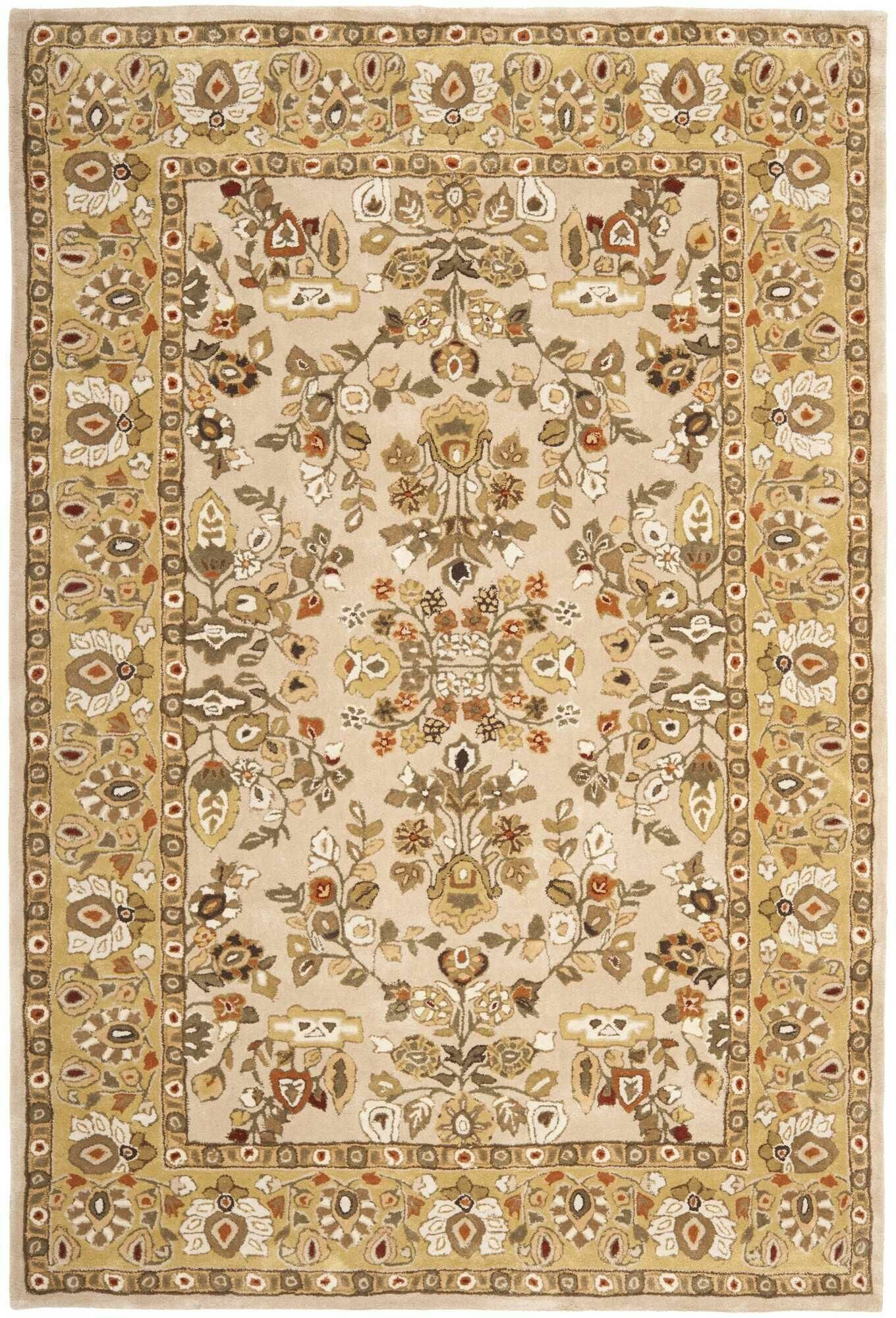 Marin Hand-Hooked Ivory/Gold Area Rug Rug Size: Runner 2'3
