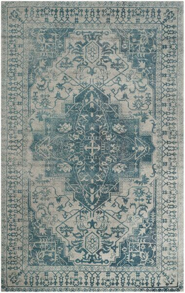 Mahoney Ivory and Turquoise Area Rug Rug Size: Rectangle 4' x 6'