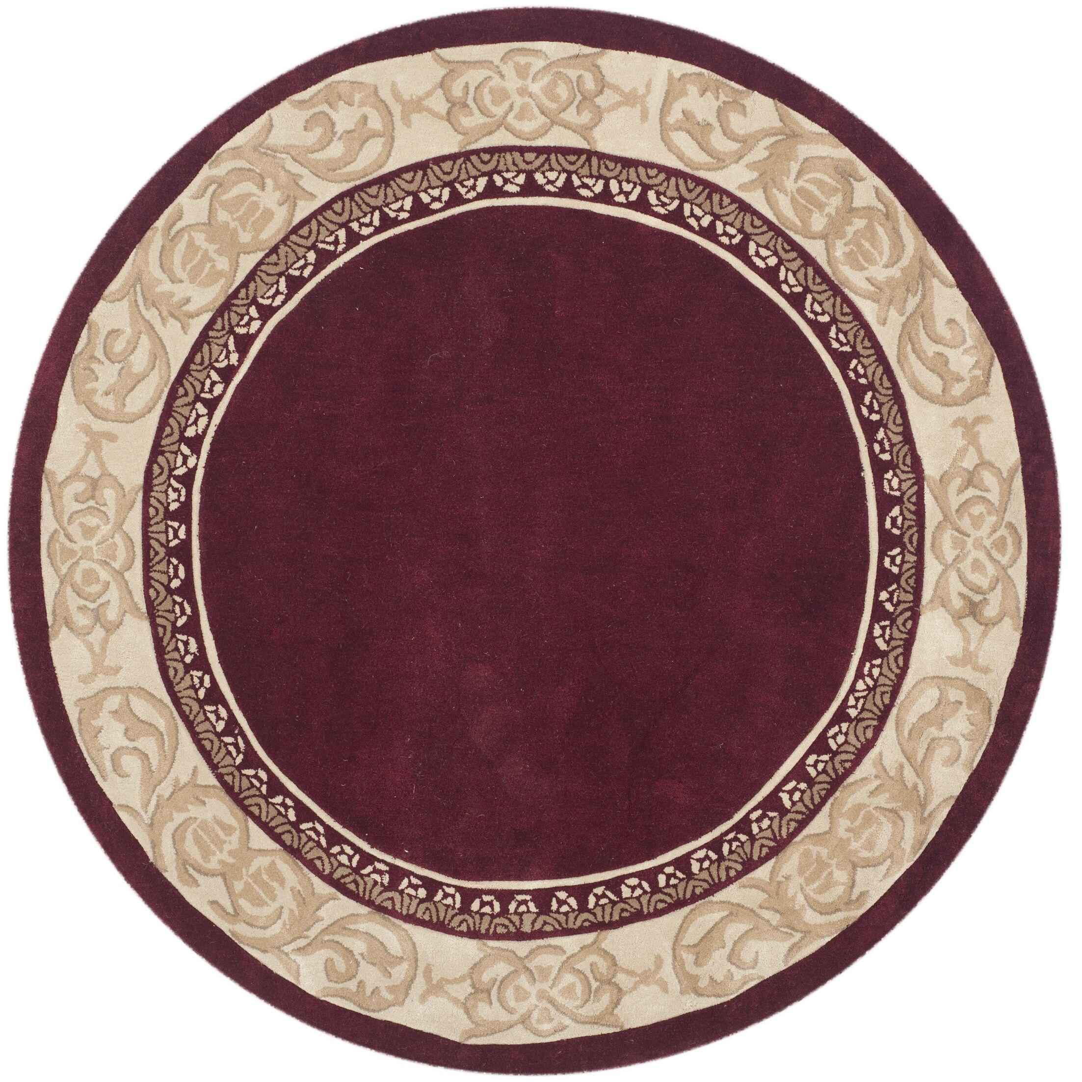 Grange Hand-Hooked Burgundy/Ivory Area Rug Rug Size: Round 6' x 6'