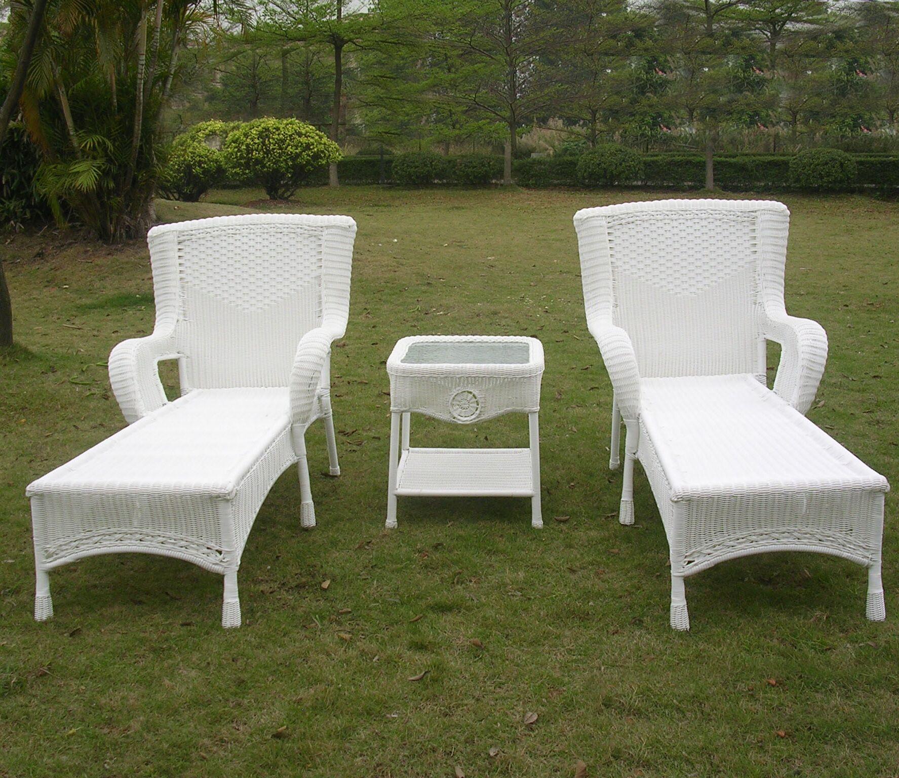 Yvette 3 Piece Chaise Lounge Set Color: White