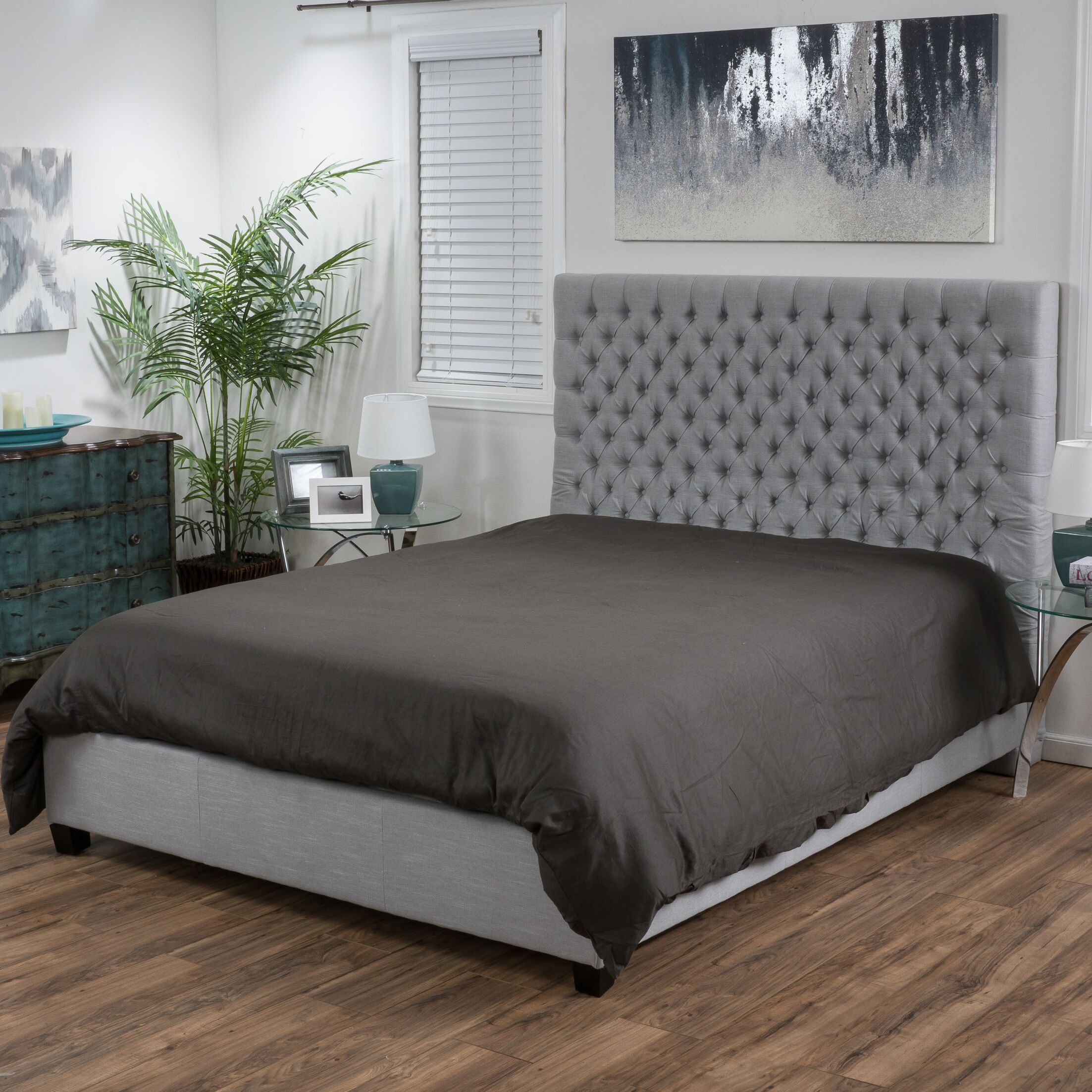 Fresnes Upholstered Panel Bed Size: King, Headboard Color: Light Gray