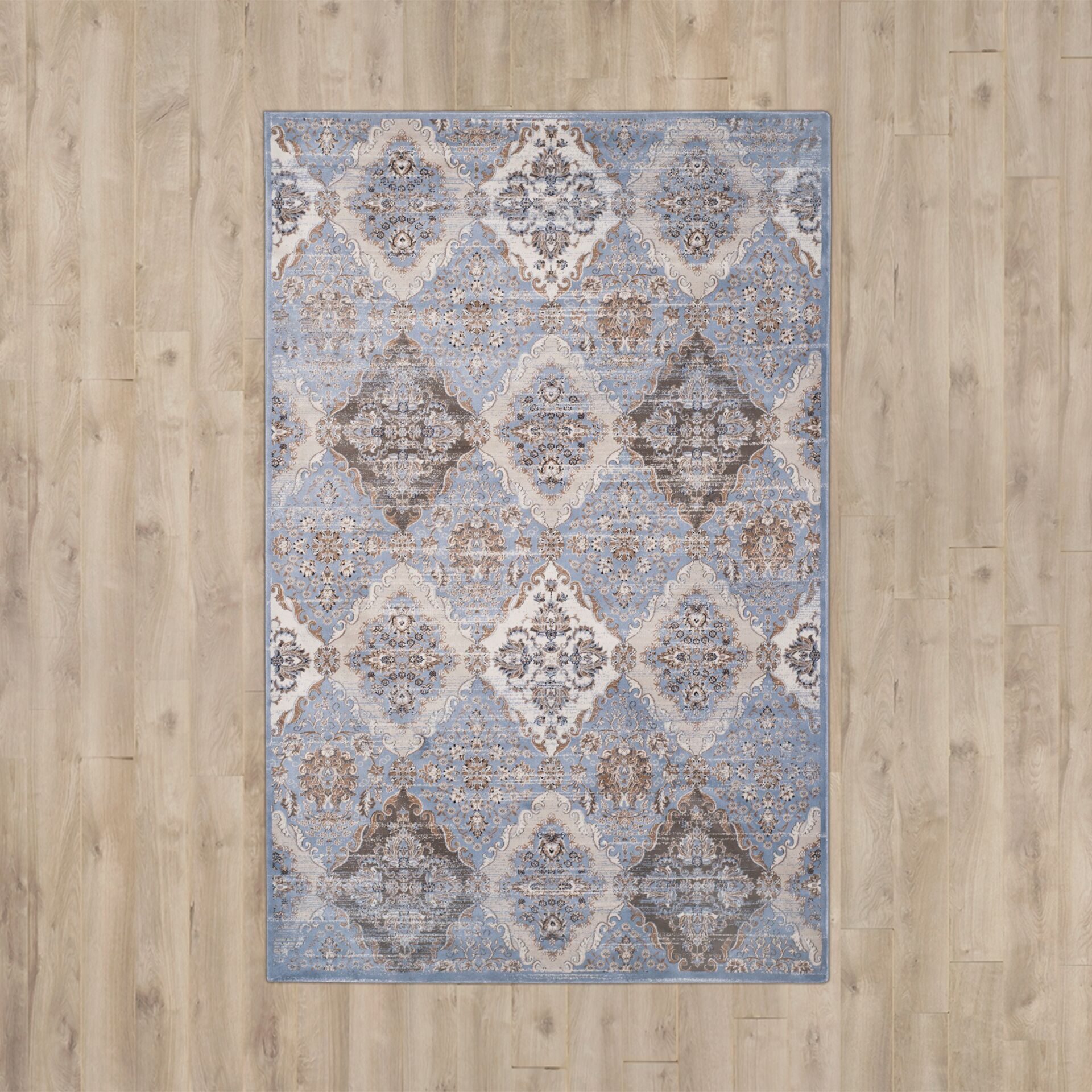 Barton Light Blue / Ivory Area Rug Rug Size: Rectangle 9' x 12'