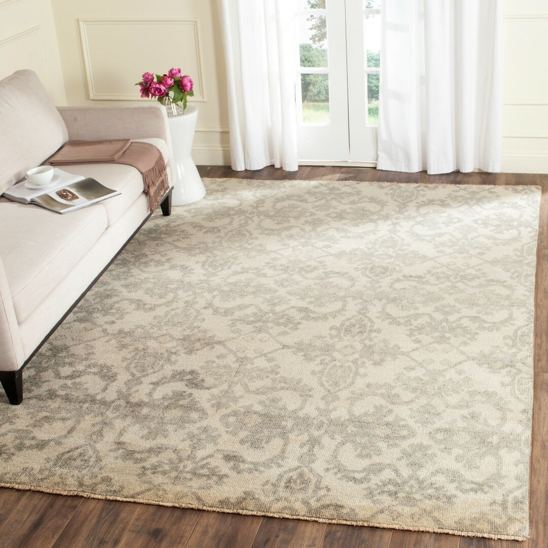 Brinwood Hand-Knotted Ivory/Gray Area Rug Rug Size: Rectangle 6' x 9'