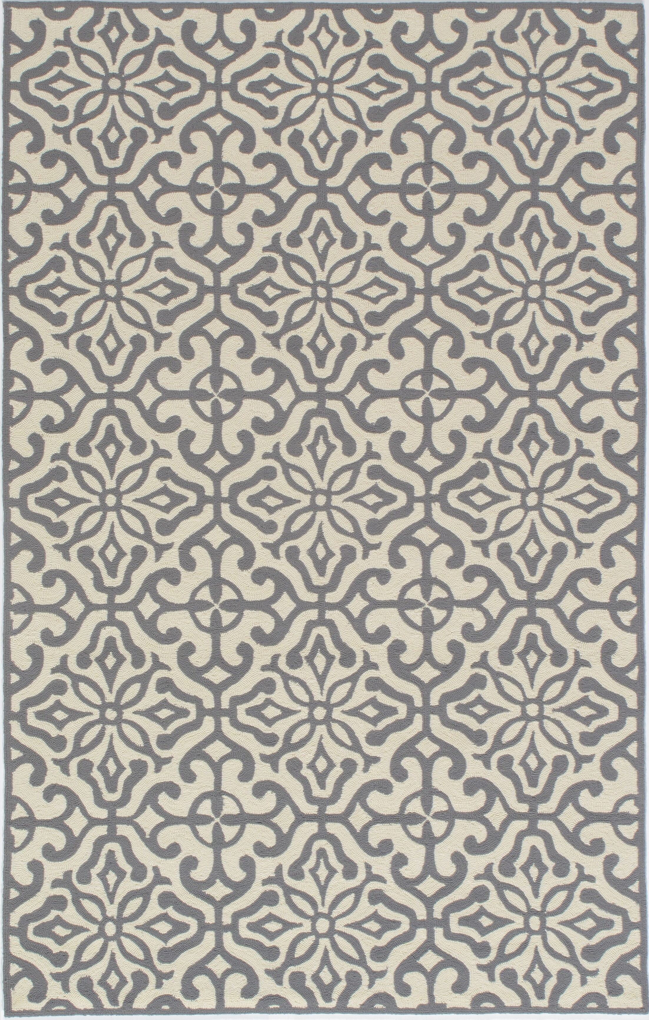 St James Hand-Hooked Gray/Beige Outdoor Area Rug Rug Size: Round 9'